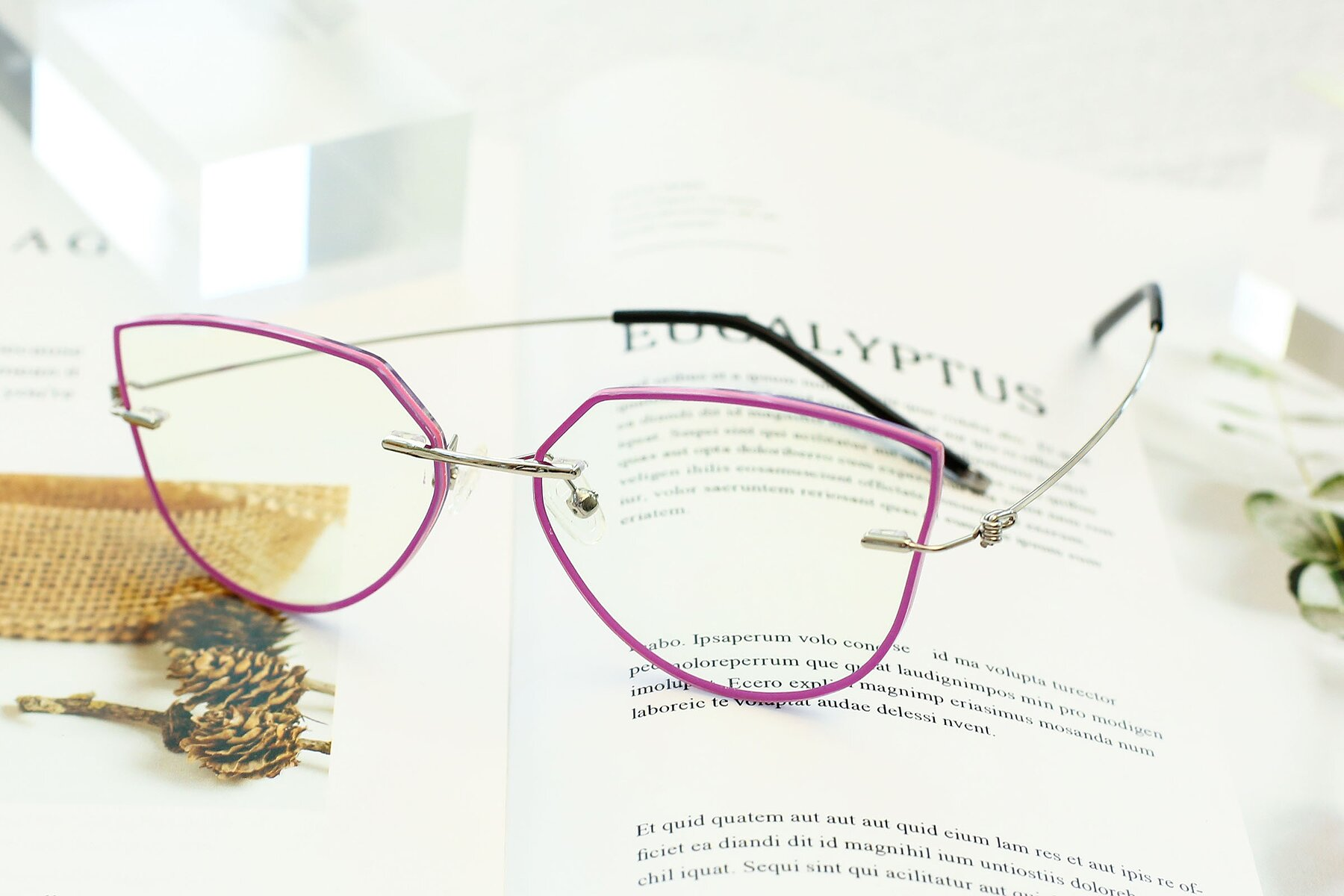 Women's lifestyle photography #2 of Y7001 in Pink-Silver with Clear Blue Light Blocking Lenses