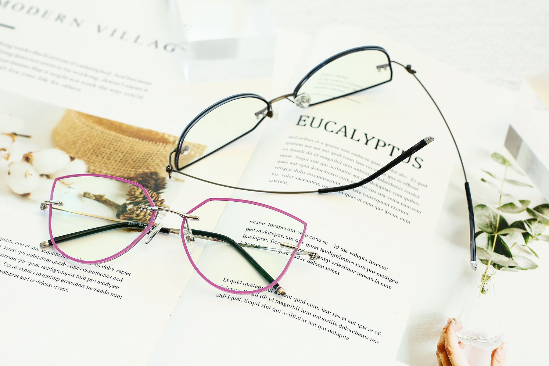 Women's lifestyle photography #5 of Y7001 in Pink-Silver with Clear Blue Light Blocking Lenses