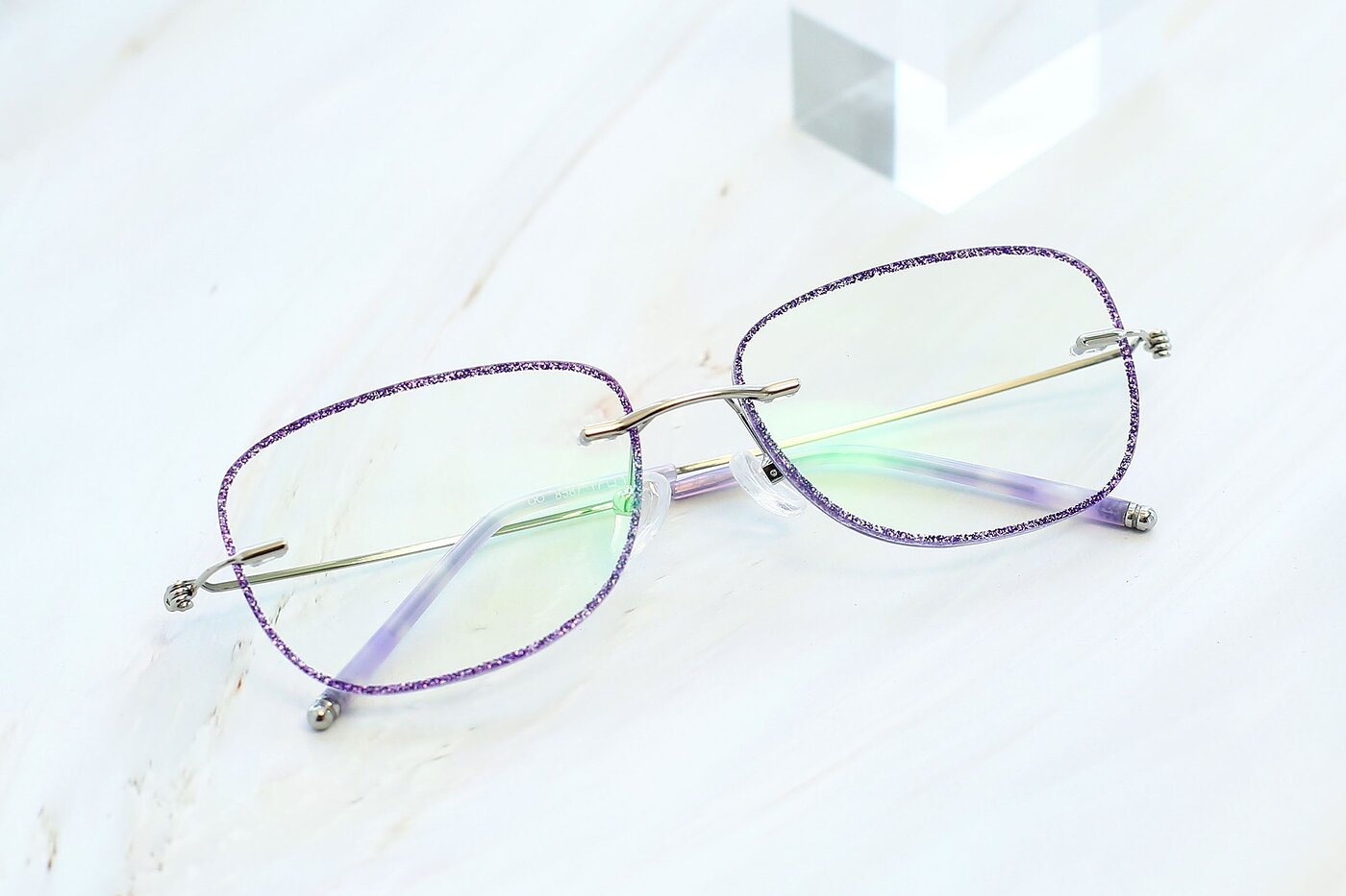Purple-Silver Flexible Rectangle Color-Edged Rimless Eyeglasses