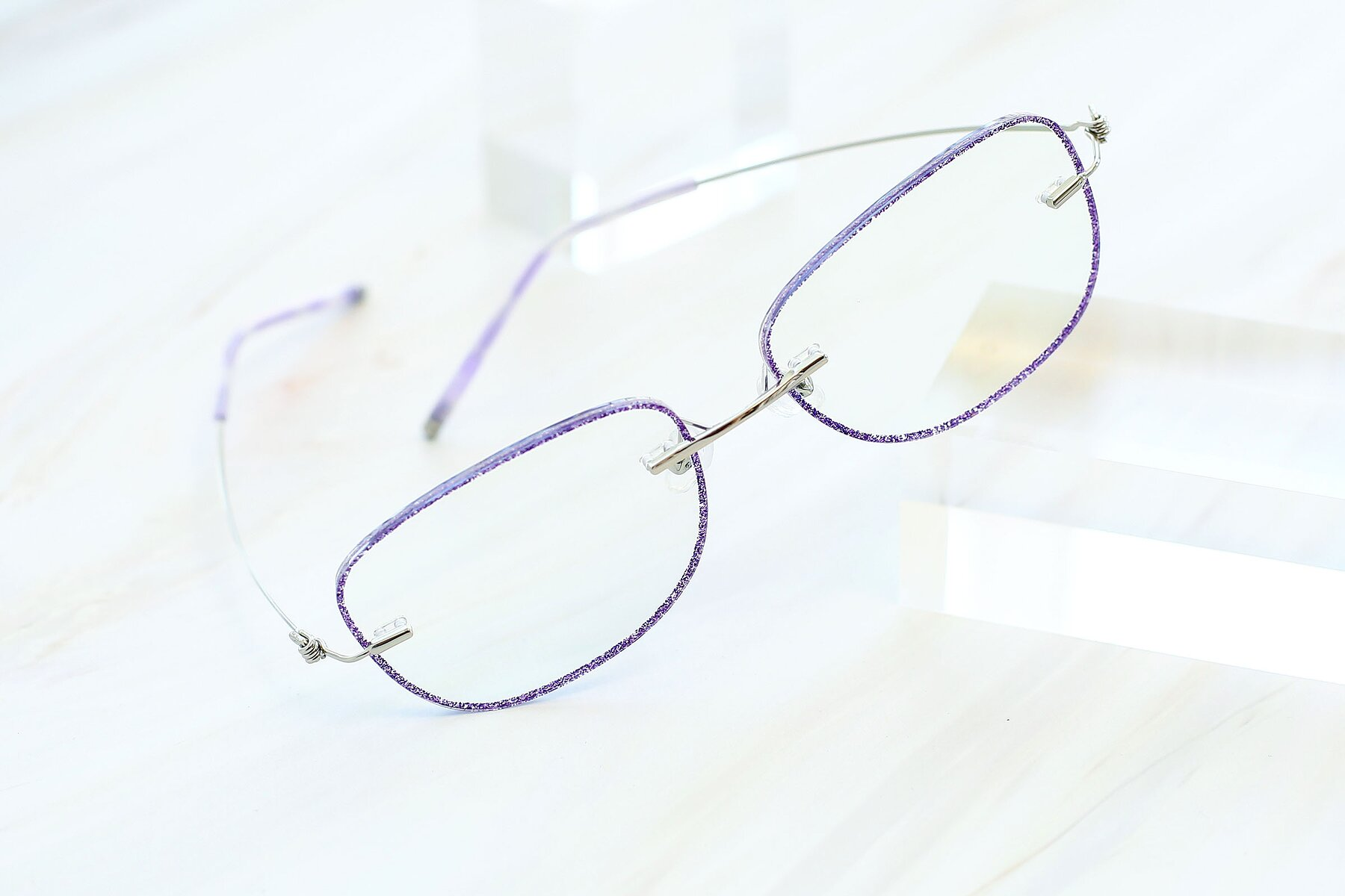 Lifestyle photography #2 of Y7002 in Purple-Silver with Clear Blue Light Blocking Lenses