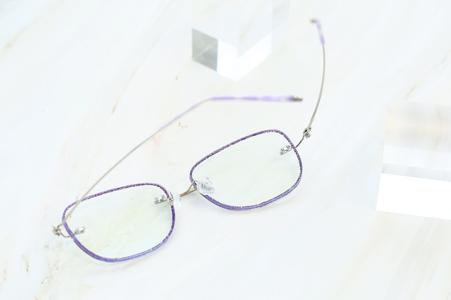 Lifestyle photography #4 of Y7002 in Purple-Silver with Clear Blue Light Blocking Lenses