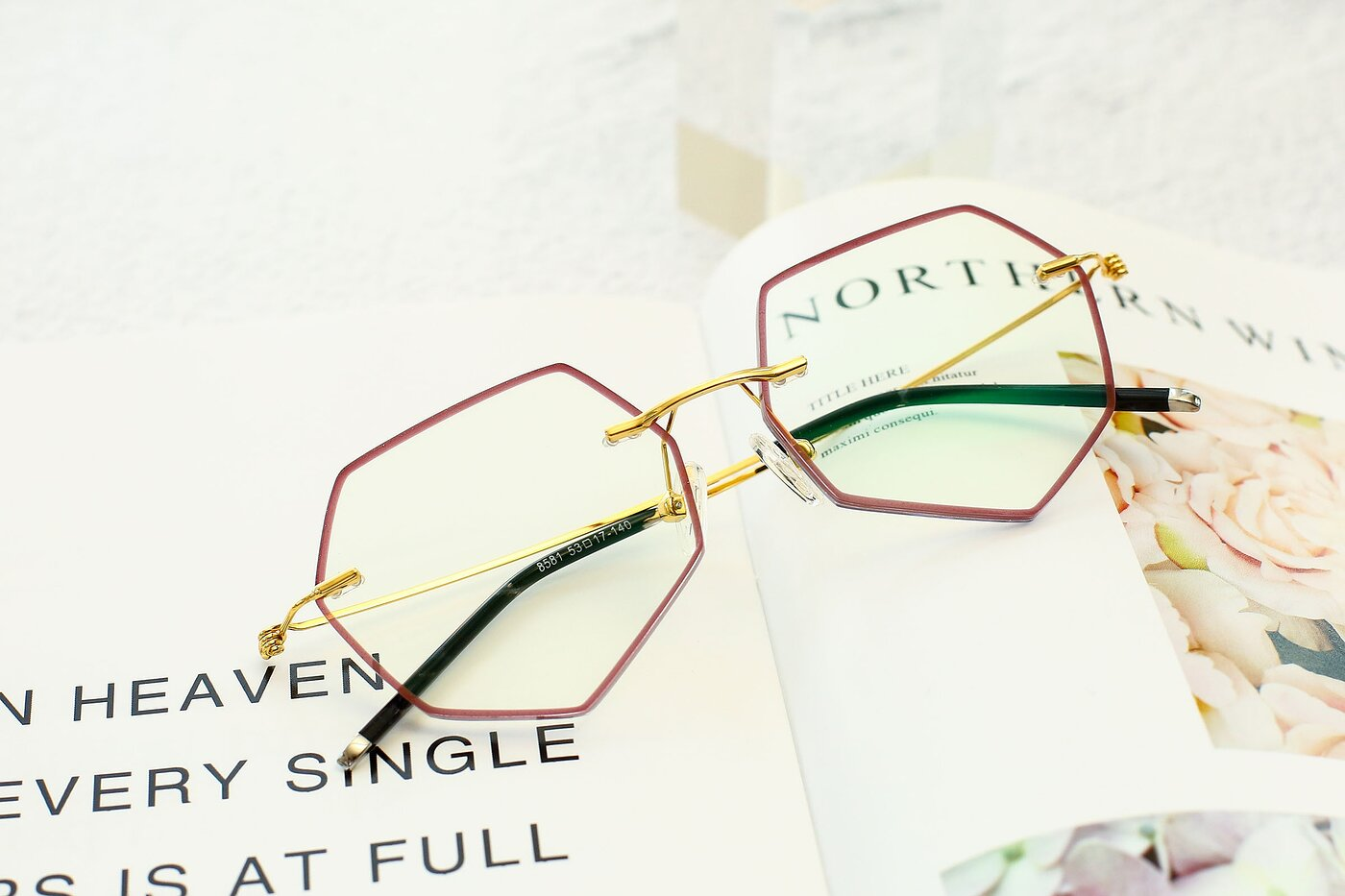 Wine-Gold Hipster Geometric Color-Edged Rimless Eyeglasses
