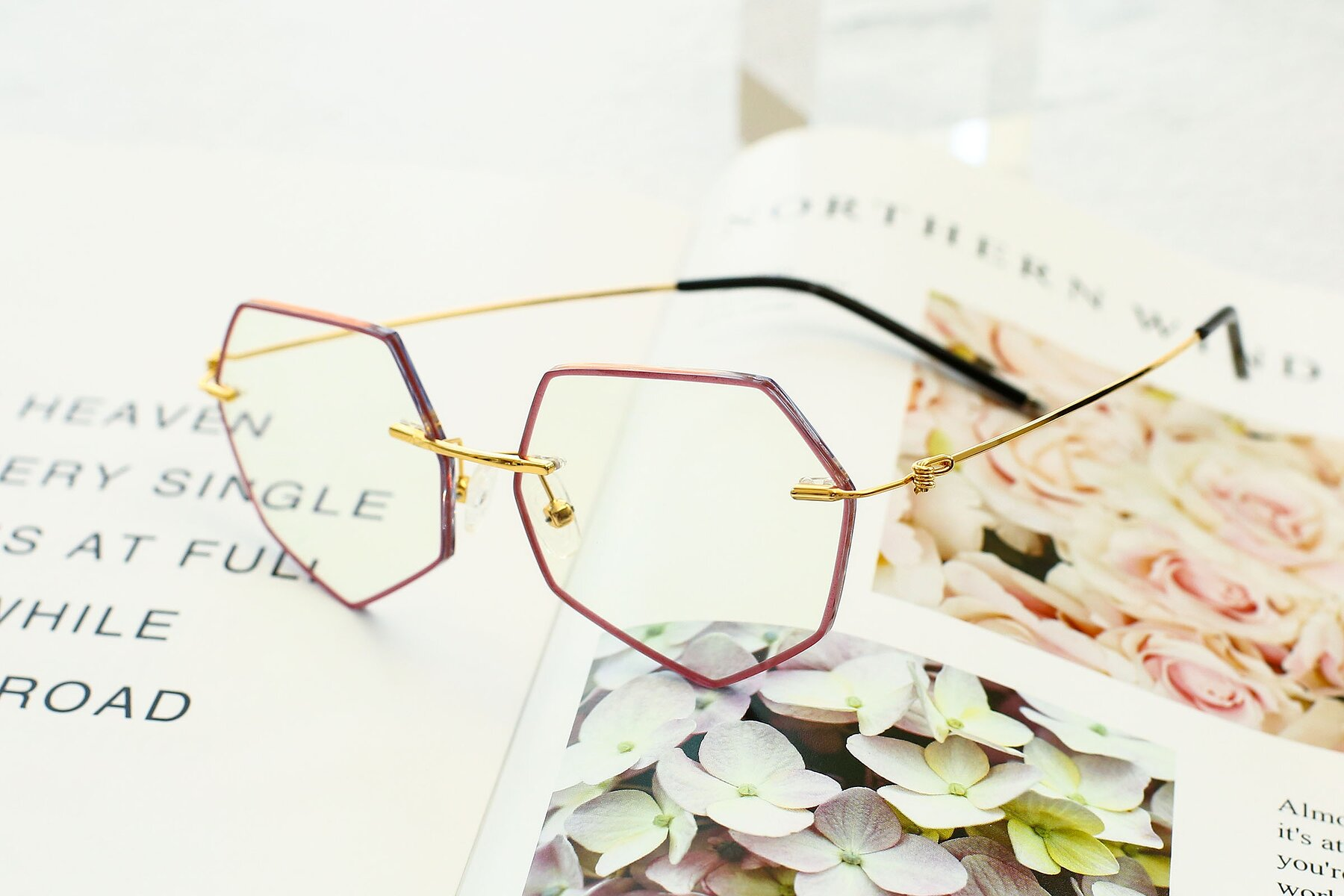 Women's lifestyle photography #3 of Y7003 in Wine-Gold with Clear Blue Light Blocking Lenses