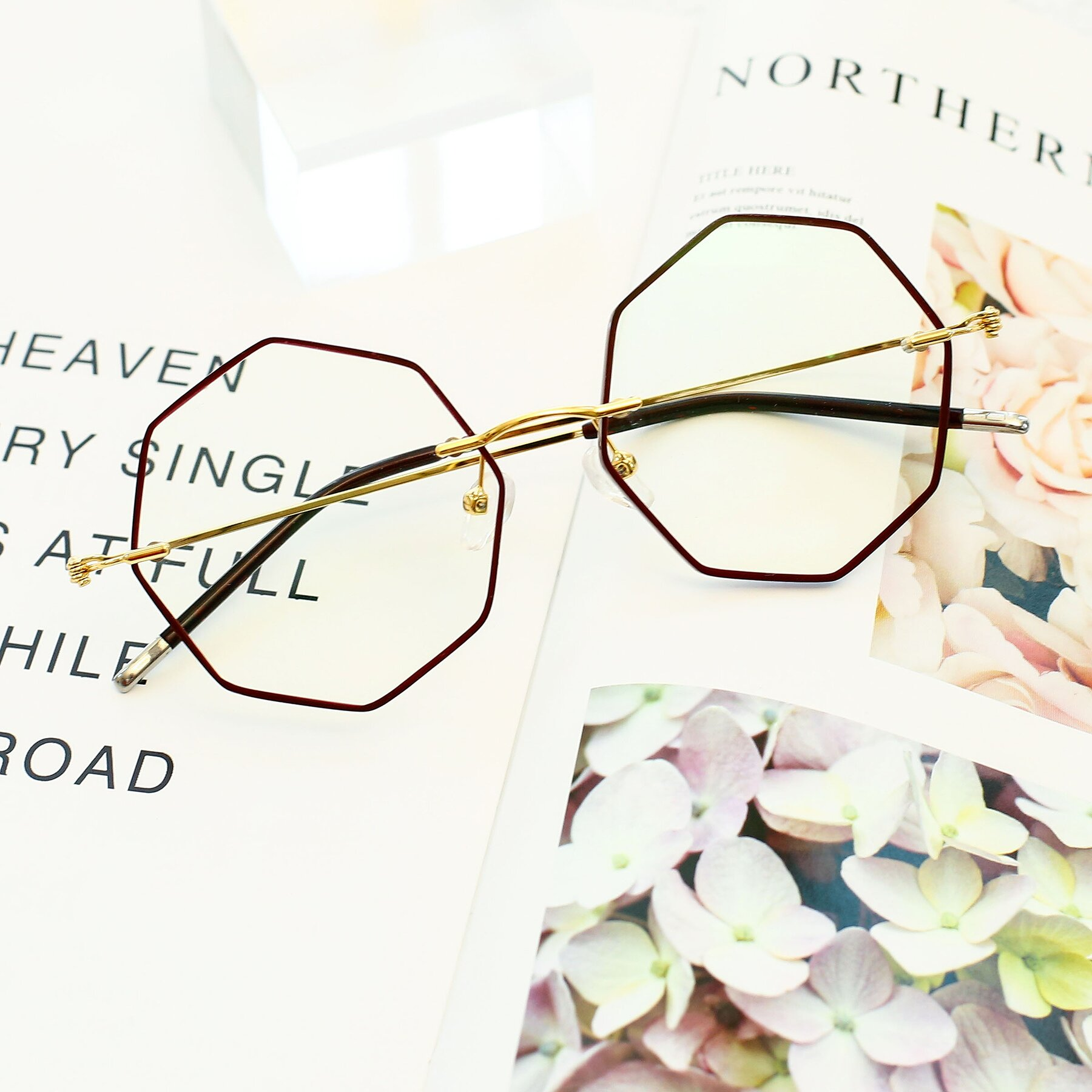 Women's lifestyle photography #1 of Y7004 in Dark Red-Gold with Clear Eyeglass Lenses