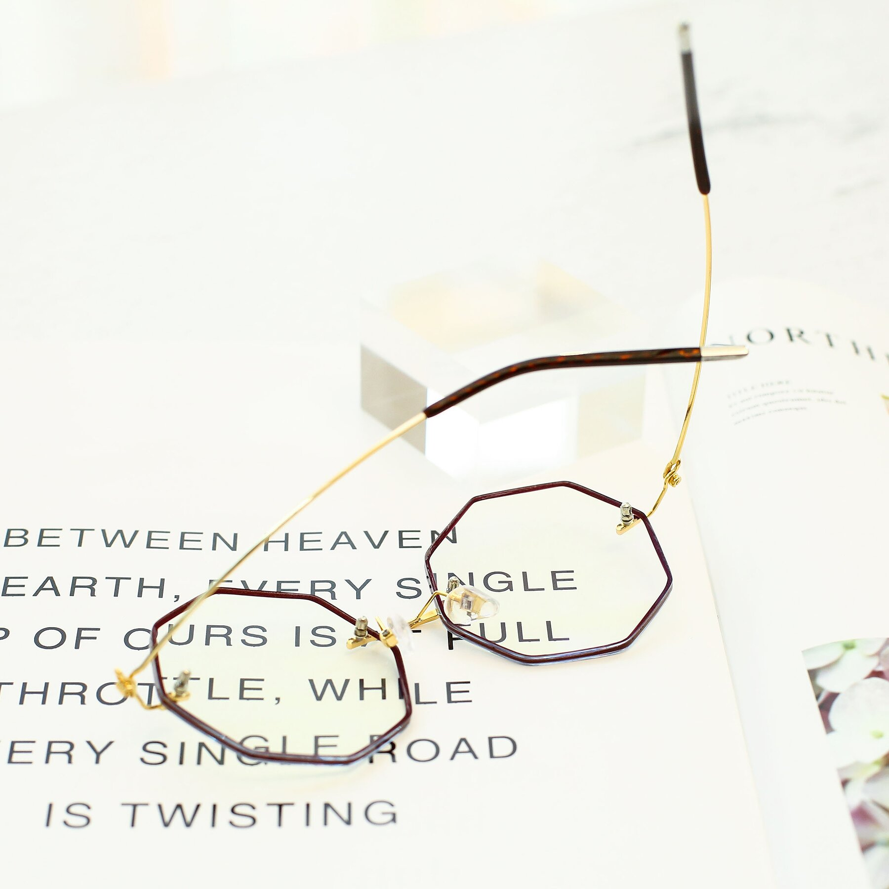 Women's lifestyle photography #4 of Y7004 in Dark Red-Gold with Clear Eyeglass Lenses