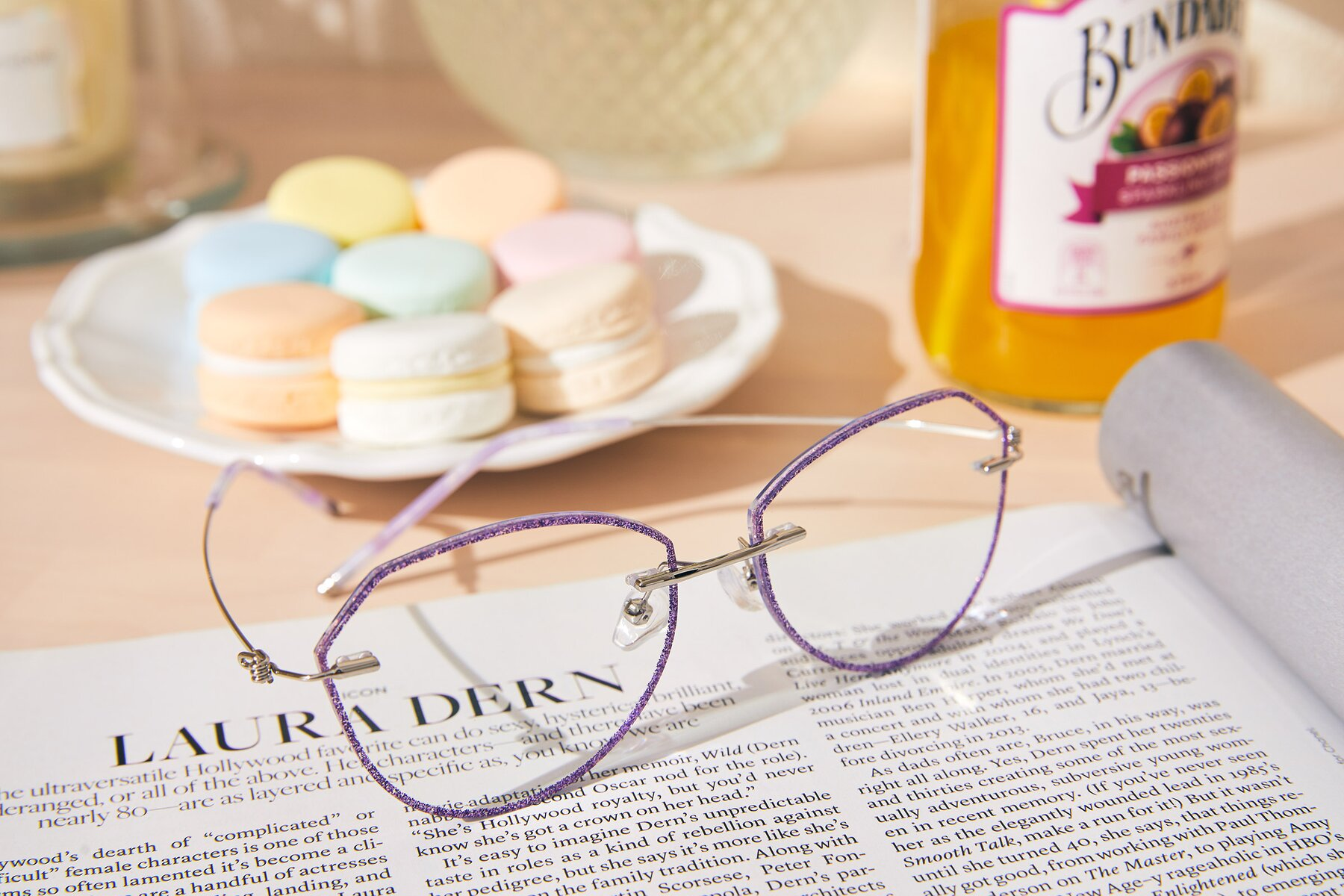 Women's lifestyle photography #2 of Y7005 in Purple-Silver with Clear Blue Light Blocking Lenses