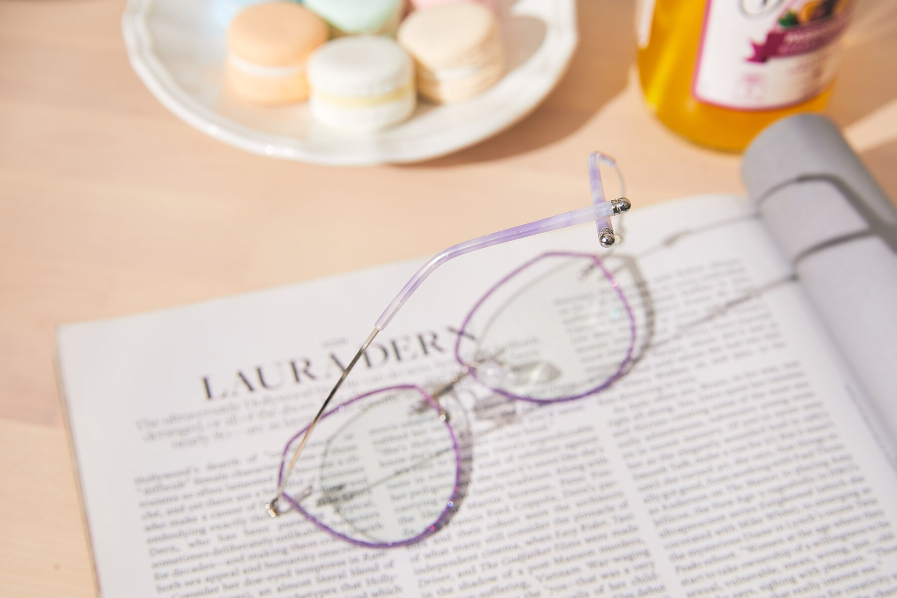 Women's lifestyle photography #3 of Y7005 in Purple-Silver with Clear Blue Light Blocking Lenses