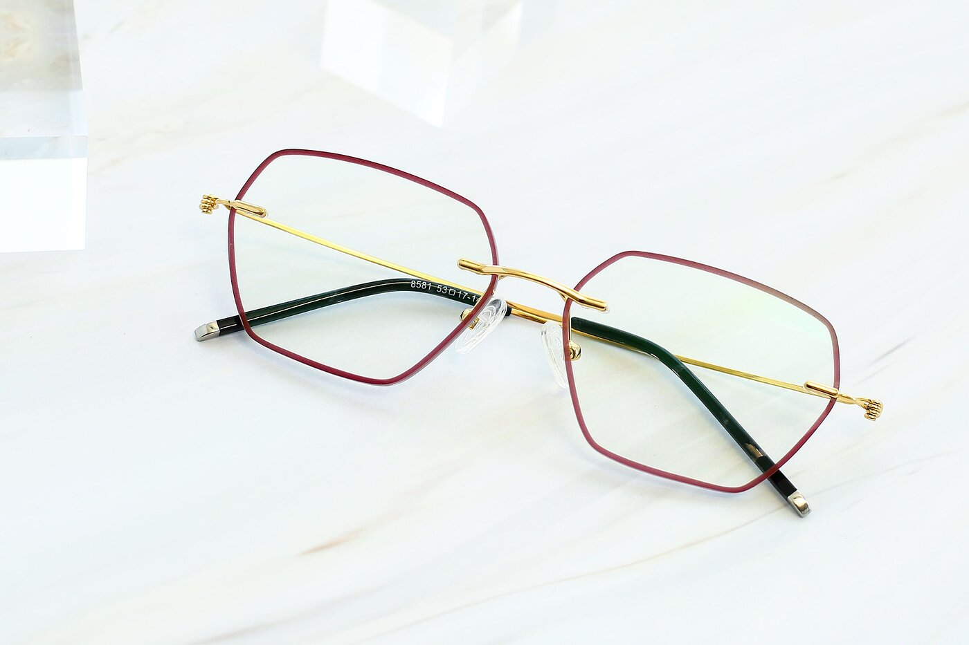 Red-Gold Hipster Geometric Color-Edged Rimless Eyeglasses