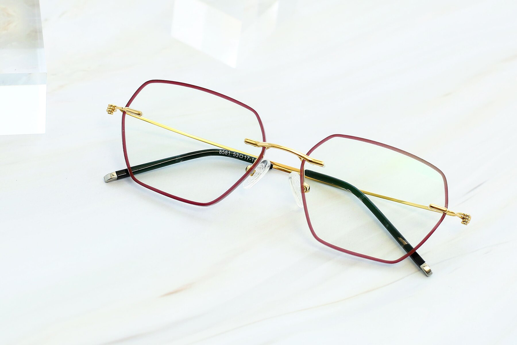 Women's lifestyle photography #1 of Y7006 in Red-Gold with Clear Blue Light Blocking Lenses