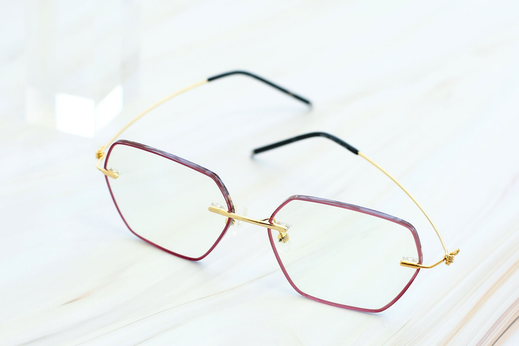 Women's lifestyle photography #2 of Y7006 in Red-Gold with Clear Blue Light Blocking Lenses