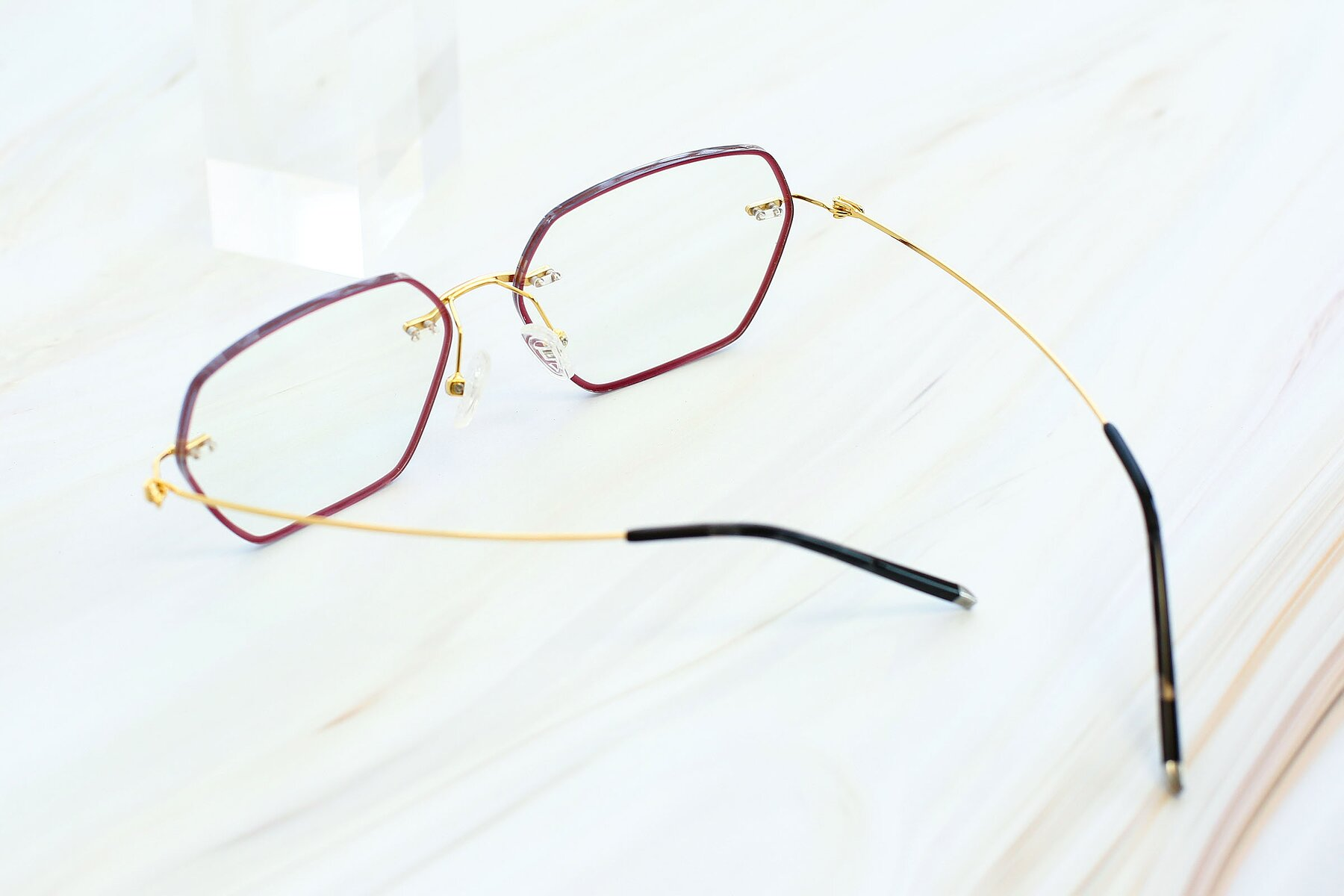 Women's lifestyle photography #3 of Y7006 in Red-Gold with Clear Blue Light Blocking Lenses