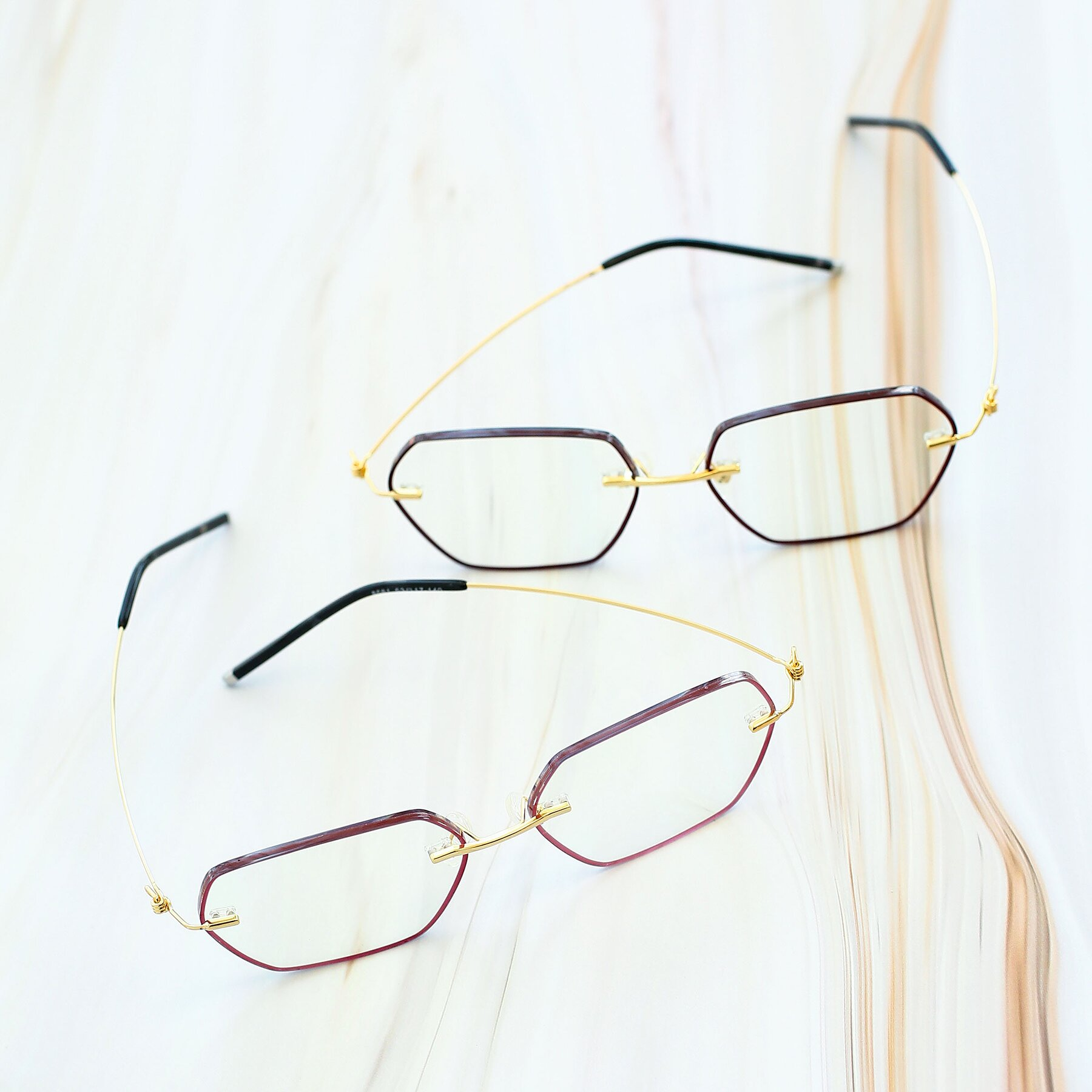 Women's lifestyle photography #4 of Y7006 in Red-Gold with Clear Blue Light Blocking Lenses