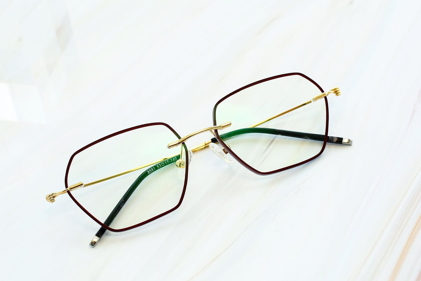 Dark Red-Gold Hipster Geometric Color-Edged Rimless Eyeglasses