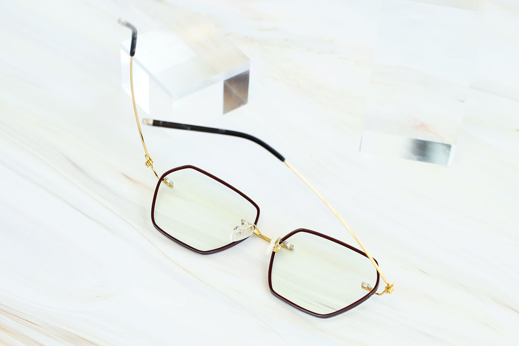 Women's lifestyle photography #4 of Y7006 in Dark Red-Gold with Clear Blue Light Blocking Lenses