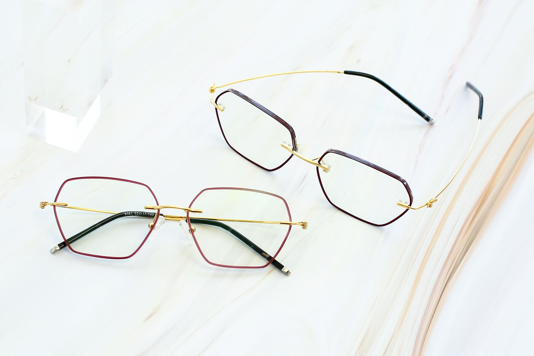 Women's lifestyle photography #5 of Y7006 in Dark Red-Gold with Clear Blue Light Blocking Lenses