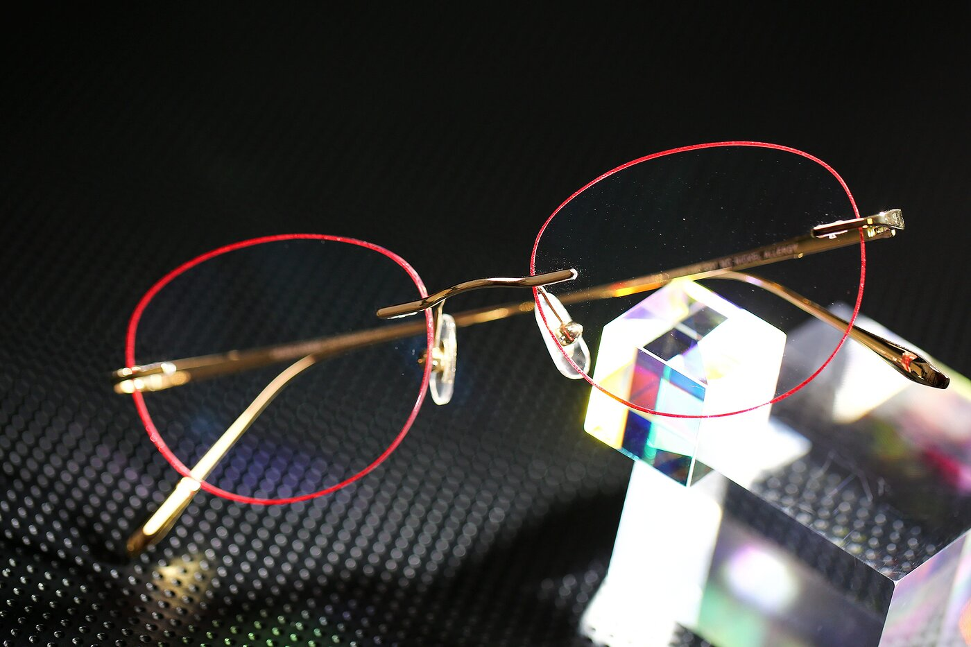 Gold-Red Titanium Oval Color-Edged Rimless Eyeglasses