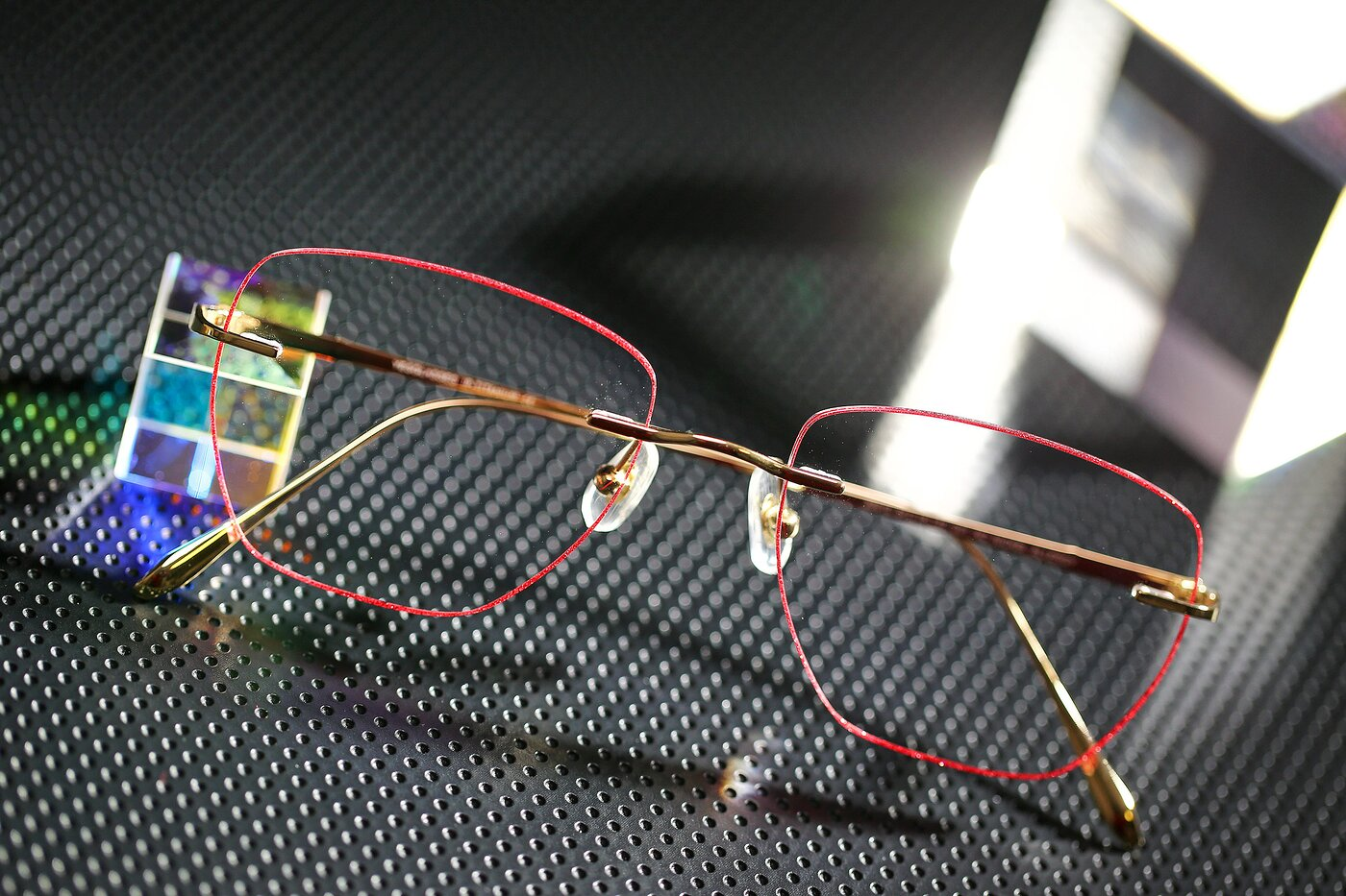 Gold-Red Titanium Square Color-Edged Rimless Eyeglasses