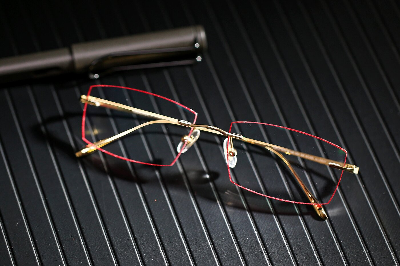 Gold-Red Classic Rectangle Color-Edged Rimless Eyeglasses