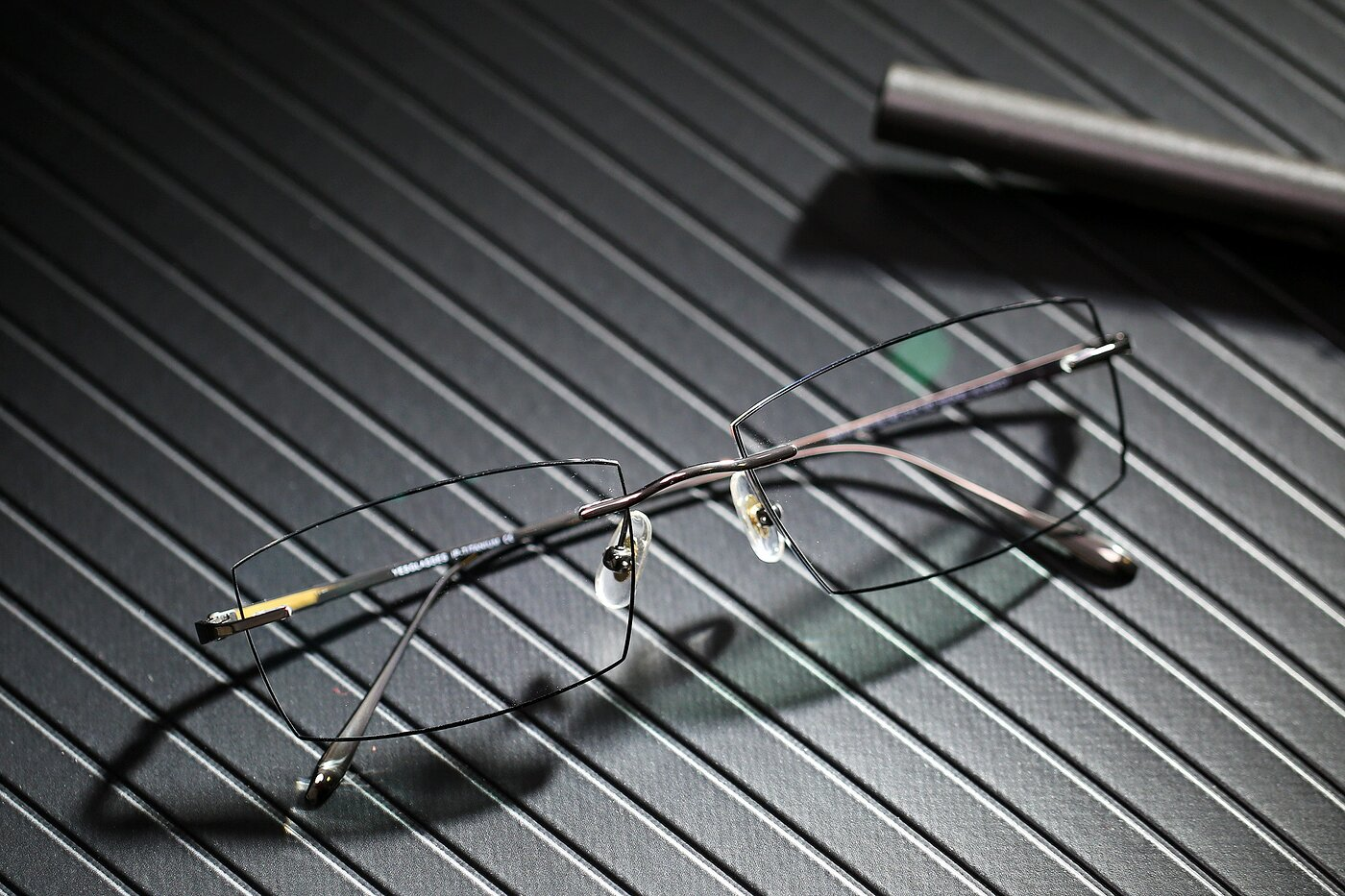 Gun-Black Classic Rectangle Color-Edged Rimless Eyeglasses