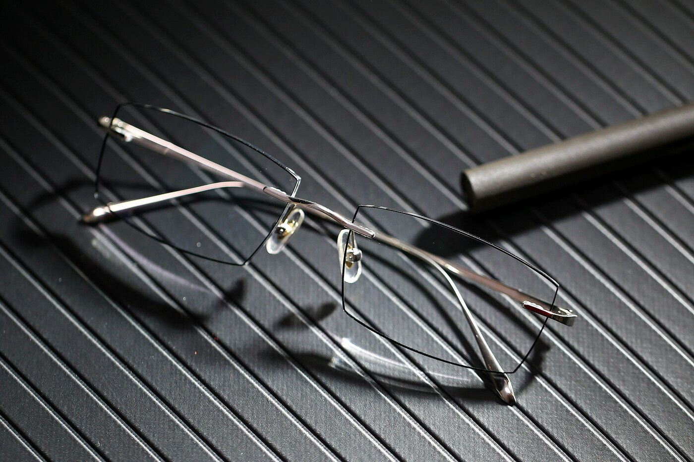 Silver-Black Classic Rectangle Color-Edged Rimless Eyeglasses