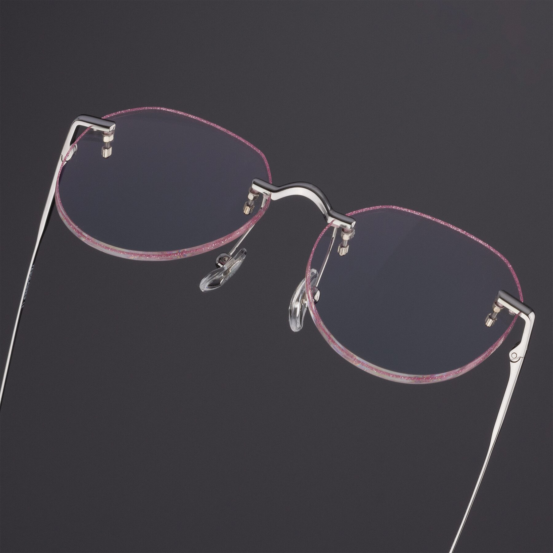 Women's lifestyle photography #1 of Torres in Silver-Pink Glitter with Clear Blue Light Blocking Lenses