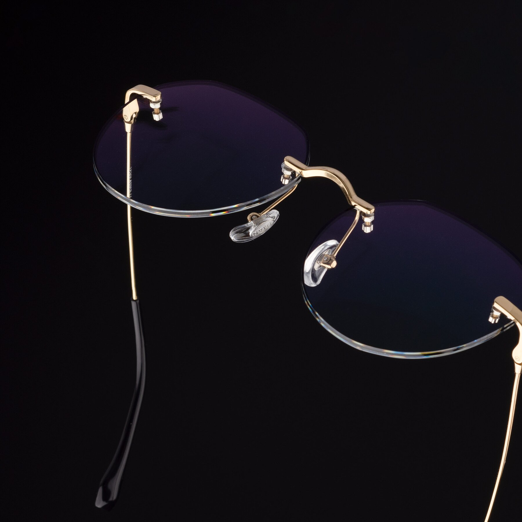 Women's lifestyle photography #2 of 1960S in Gold-Black with Clear Blue Light Blocking Lenses