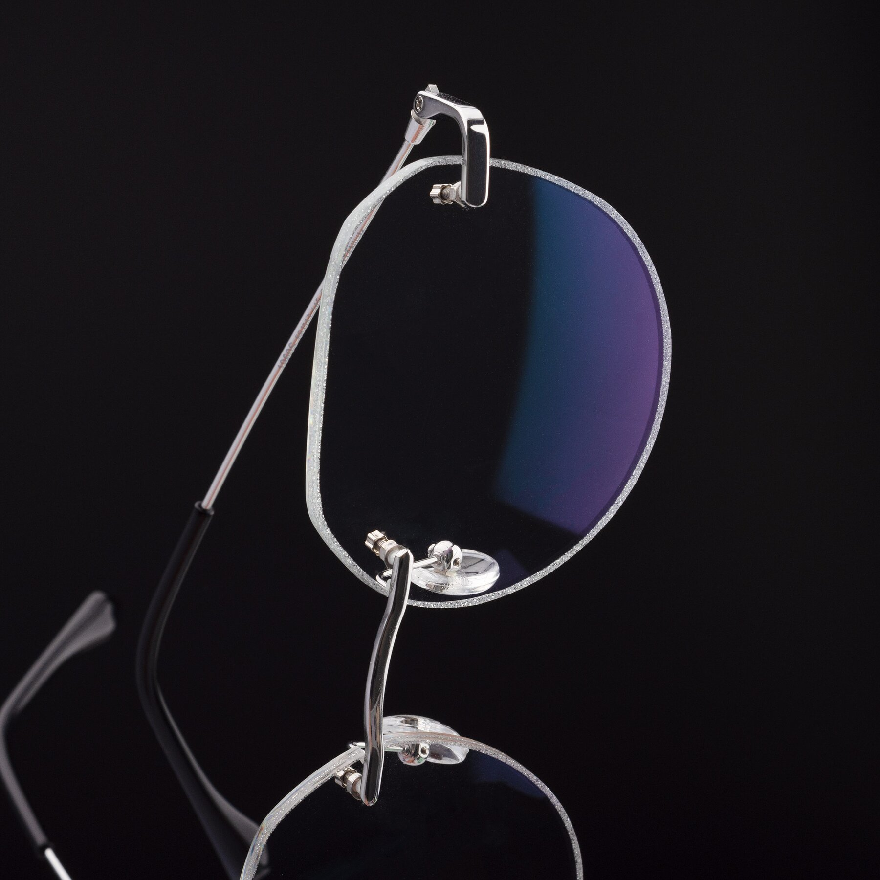 Women's lifestyle photography #1 of 1960S in Silver-Silver Glitter with Clear Blue Light Blocking Lenses