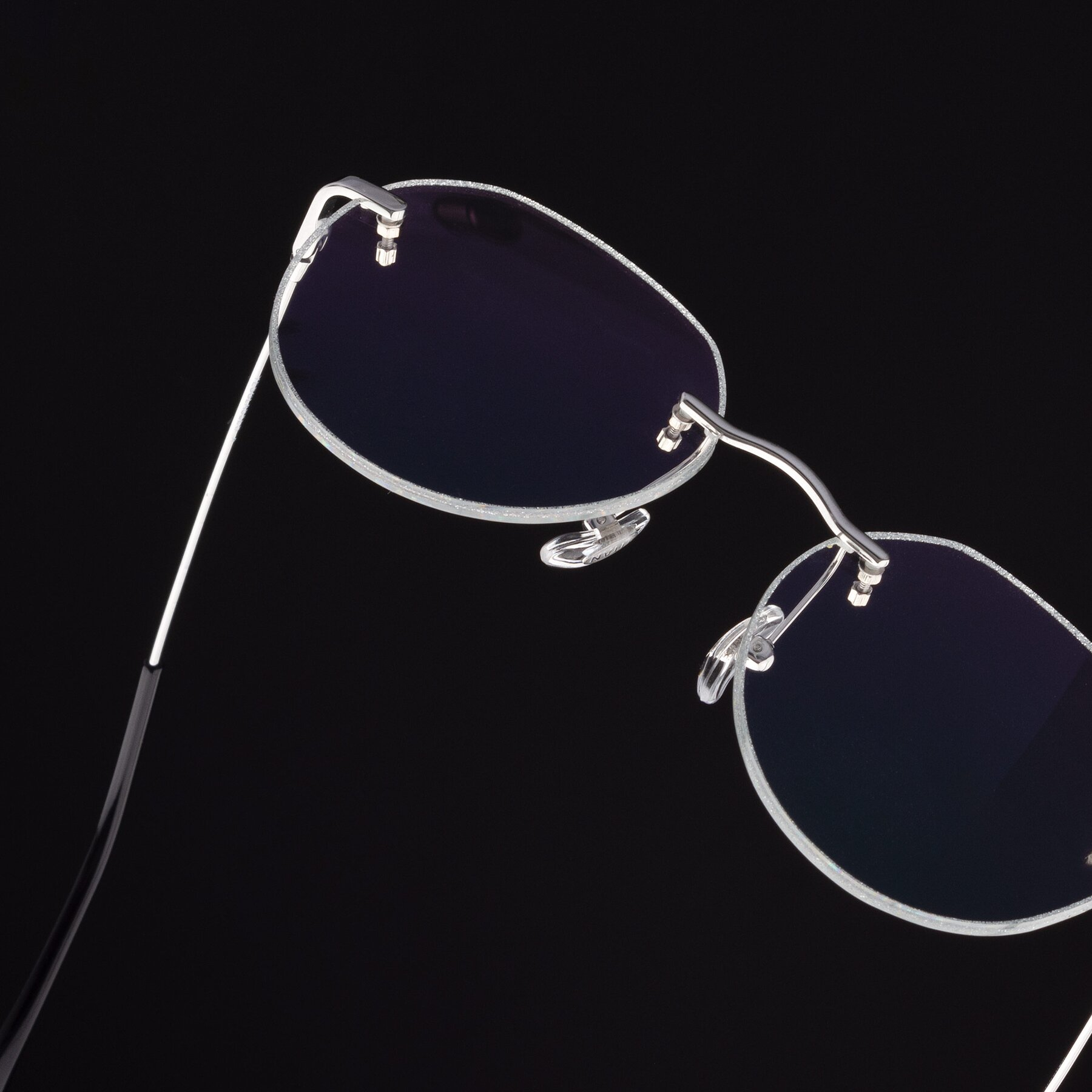 Women's lifestyle photography #2 of 1960S in Silver-Silver Glitter with Clear Eyeglass Lenses