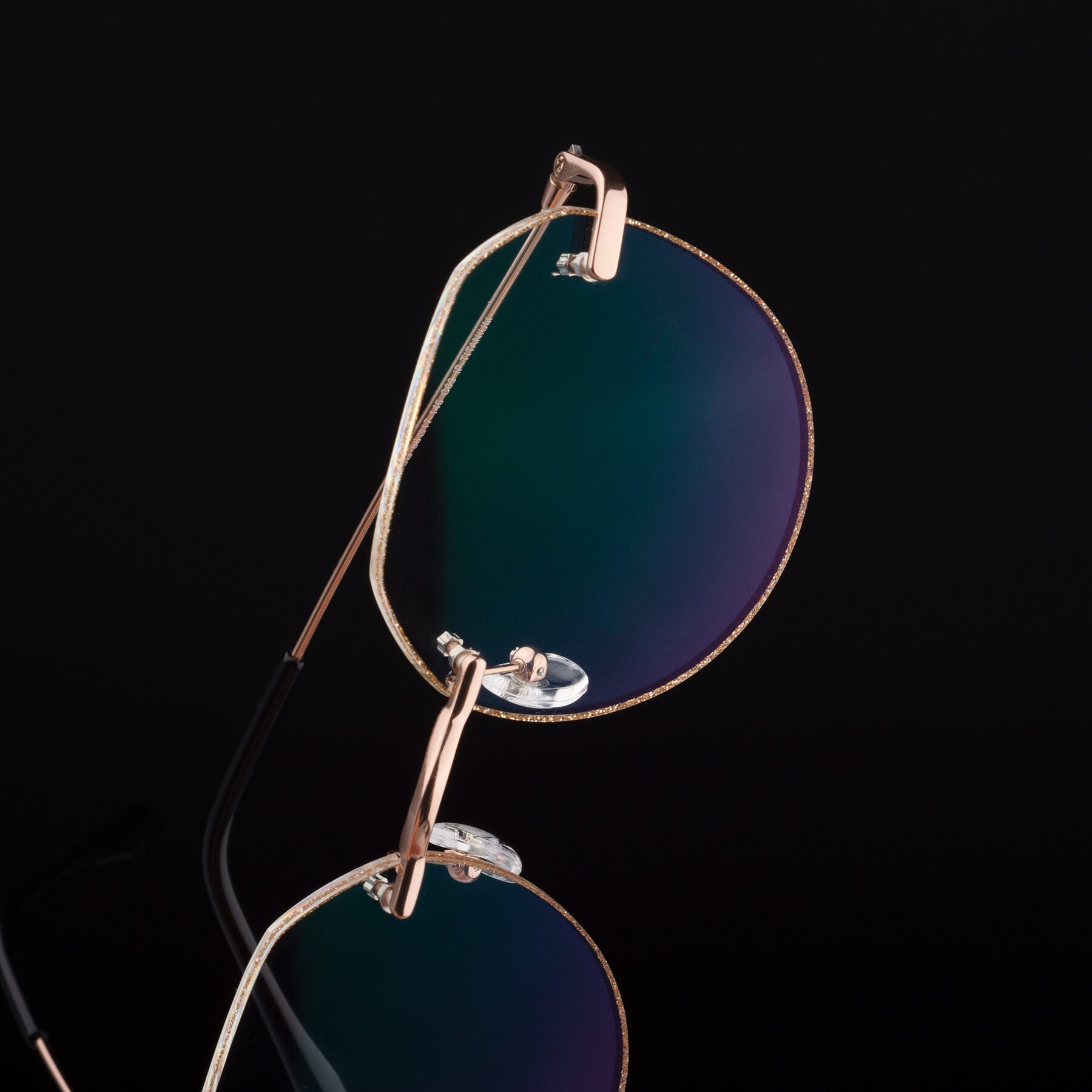 Women's lifestyle photography #1 of 1960S in Rose Gold-Gold Glitter with Clear Eyeglass Lenses