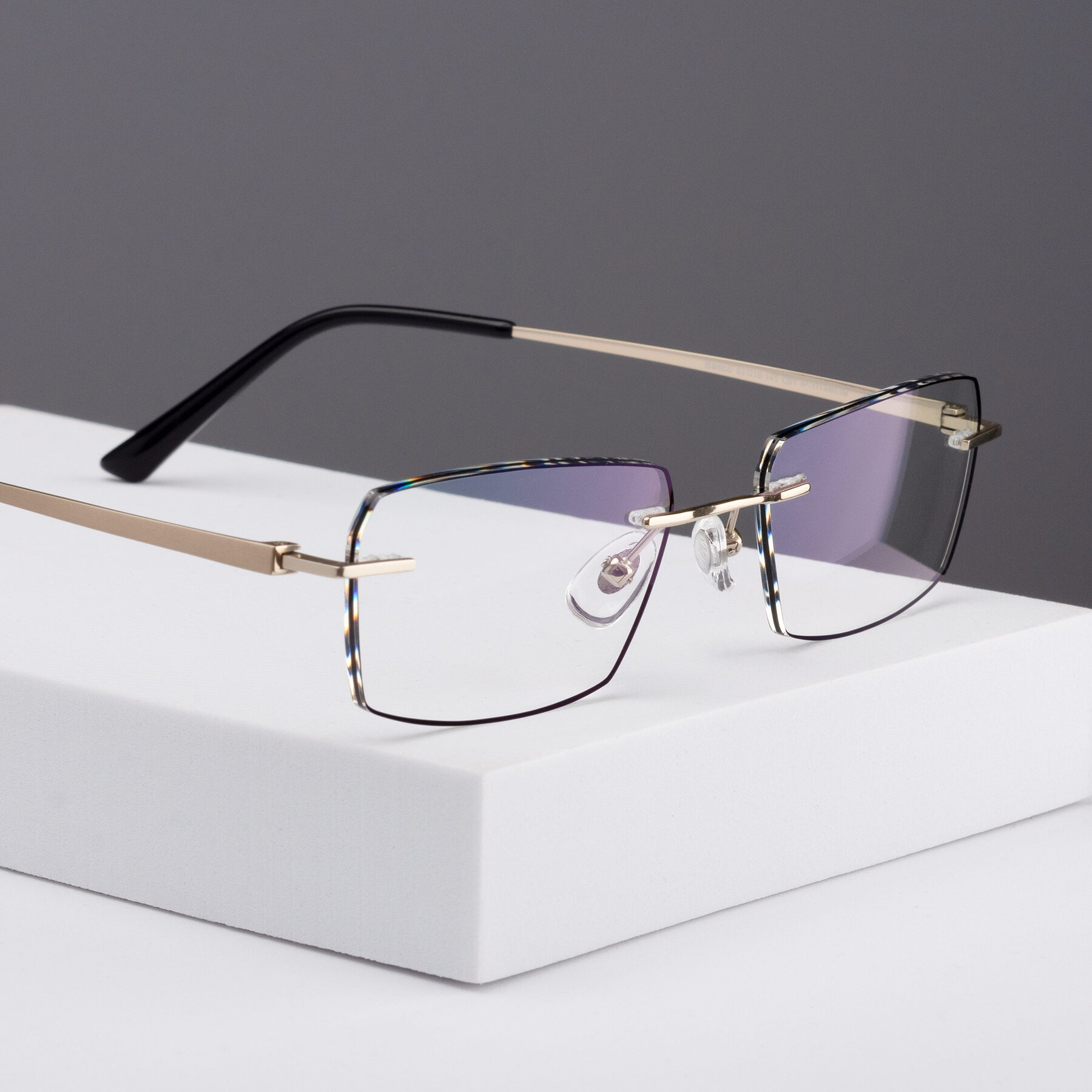 Men's lifestyle photography #1 of Basco in Gold-Black with Clear Blue Light Blocking Lenses
