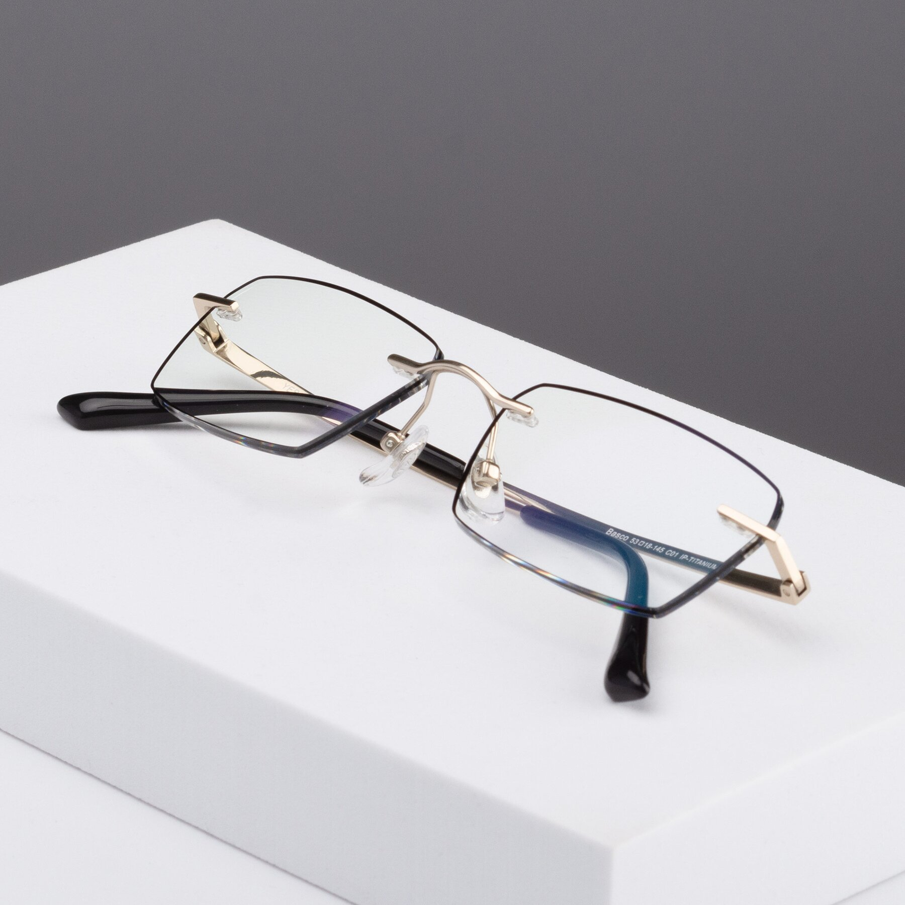 Men's lifestyle photography #2 of Basco in Gold-Black with Clear Blue Light Blocking Lenses