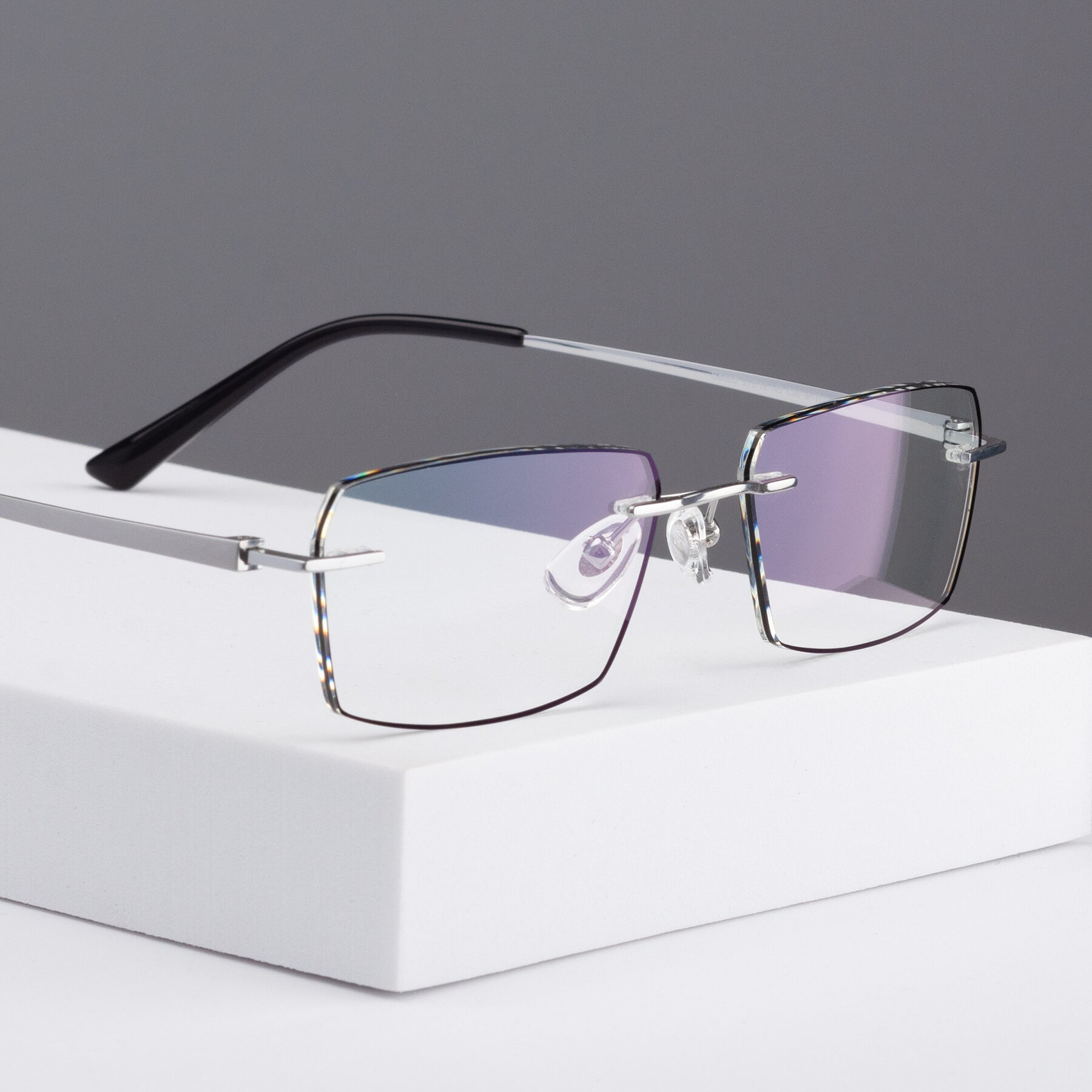 Men's lifestyle photography #1 of Basco in Silver-Black with Clear Eyeglass Lenses