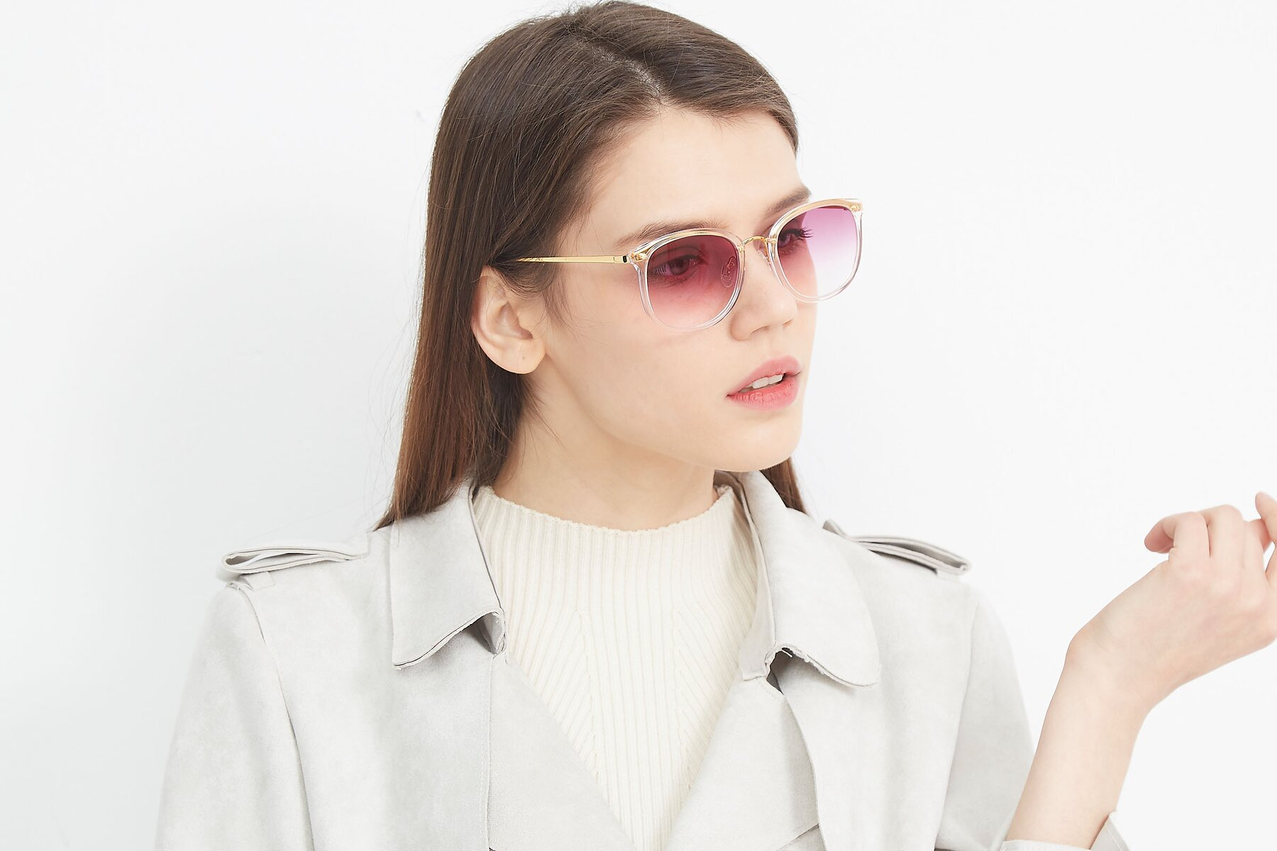 Women's lifestyle photography (landscape-2) of Timeless in Transparent Pink with Purple Gradient Lenses