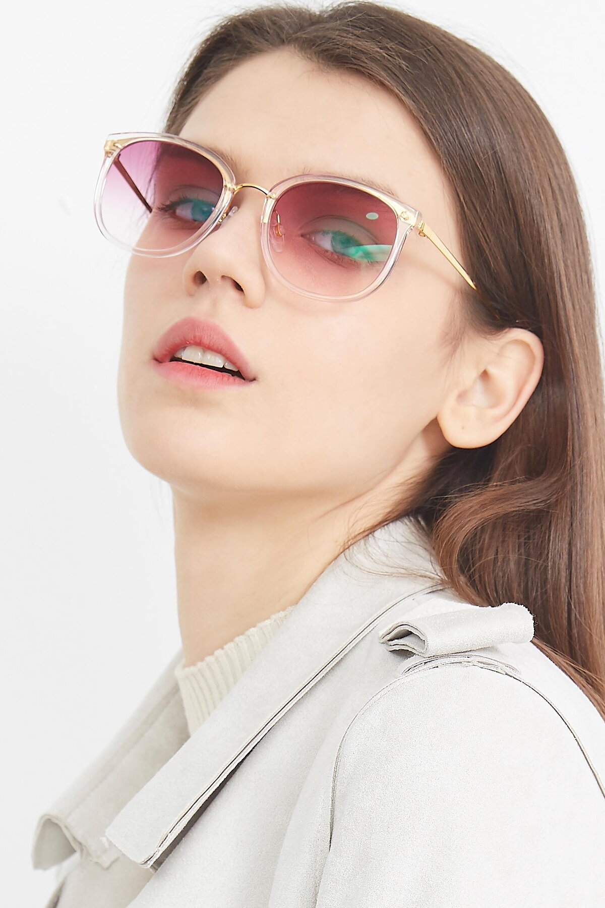 Women's lifestyle photography (portrait-2) of Timeless in Transparent Pink with Purple Gradient Lenses