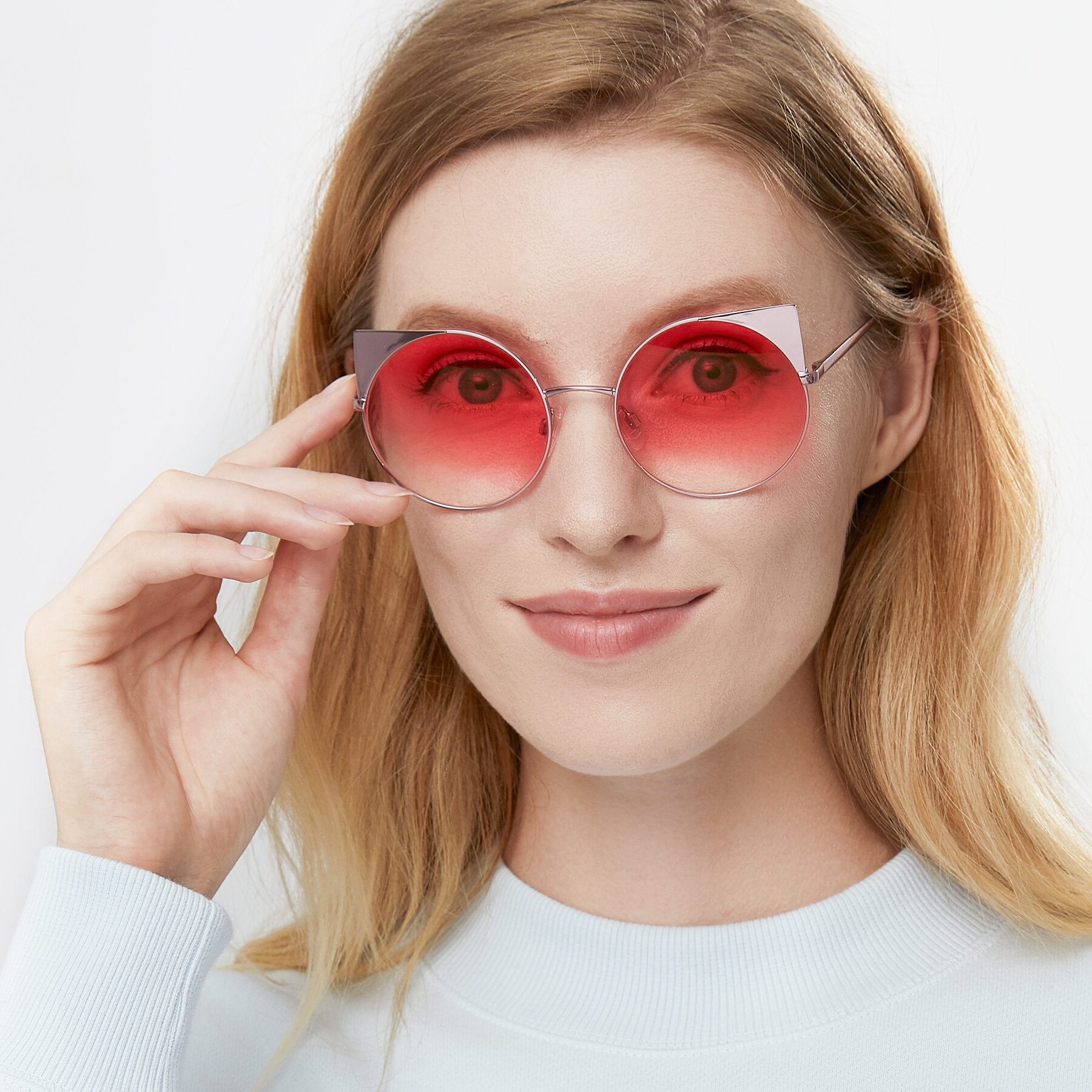 Women's lifestyle photography of SSR1955 in Pink with Pink Gradient Lenses