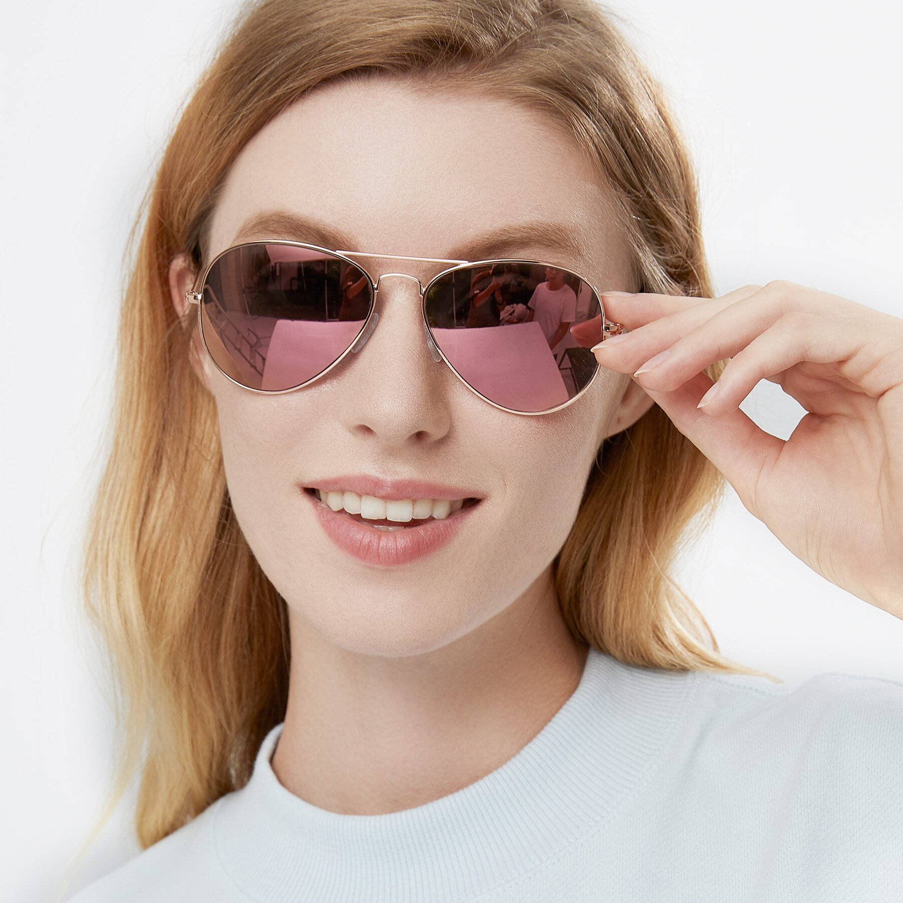 Women's lifestyle photography of Yesterday in Rose Gold with Pink Mirrored Lenses