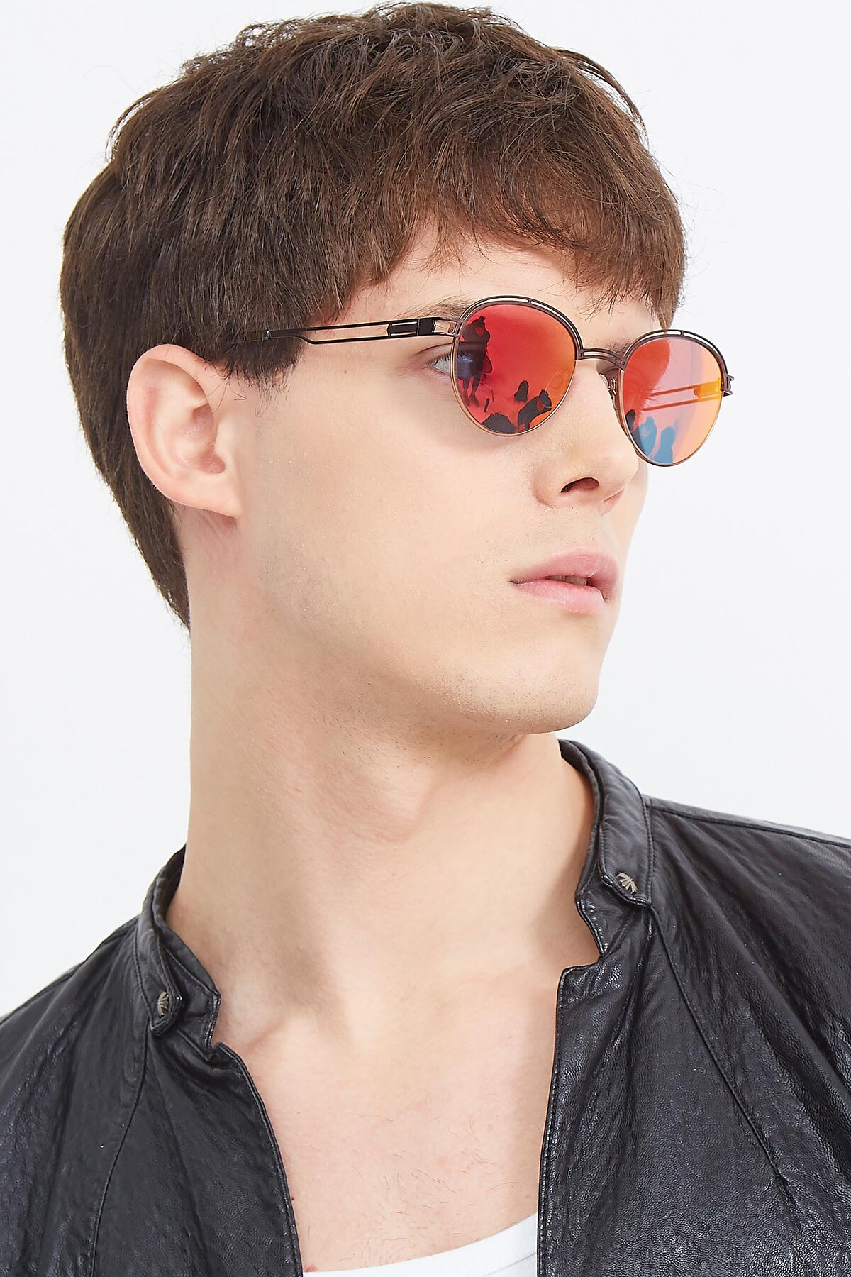 Men's lifestyle photography (portrait-2) of Marvel in Coffee-Gold with Red Gold Mirrored Lenses