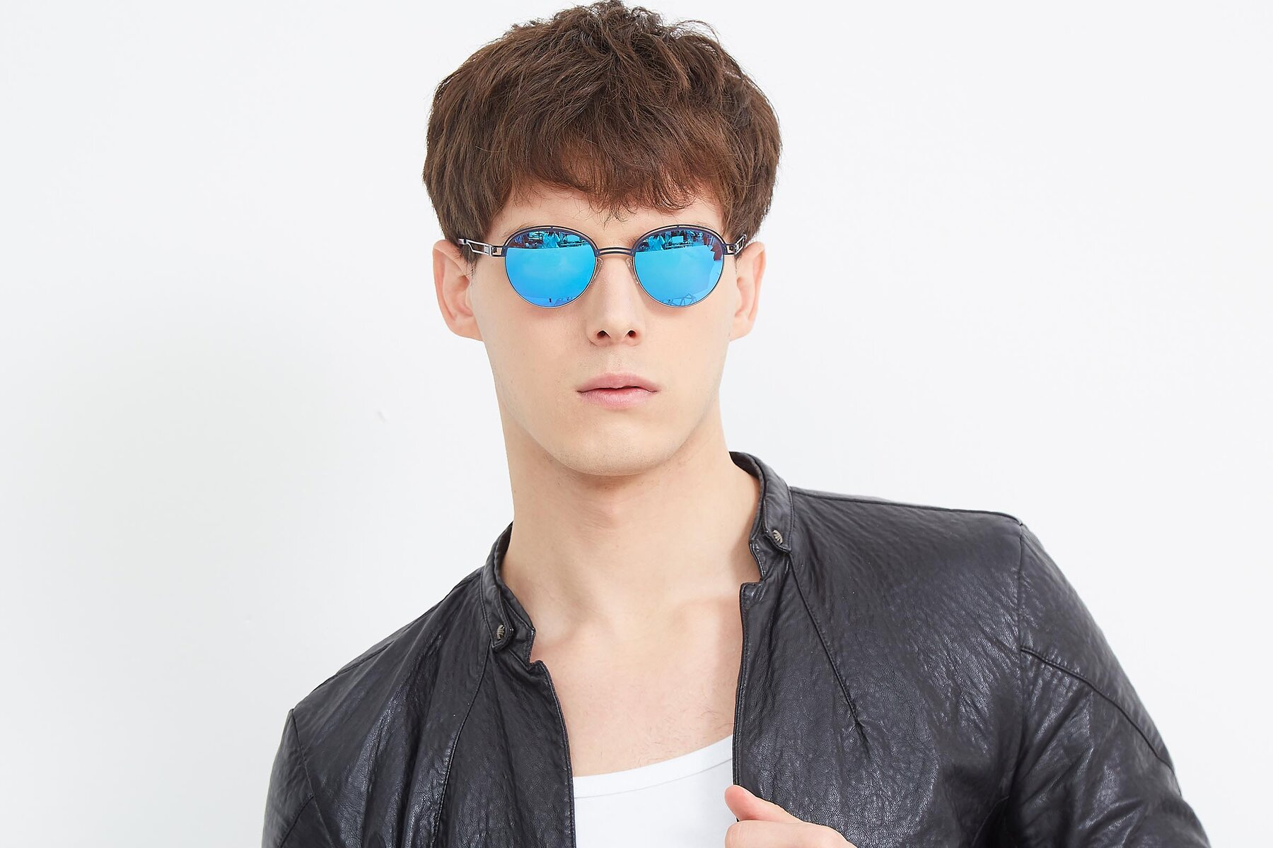 Men's lifestyle photography (landscape-1) of Marvel in Blue-Gunmetal with Blue Mirrored Lenses