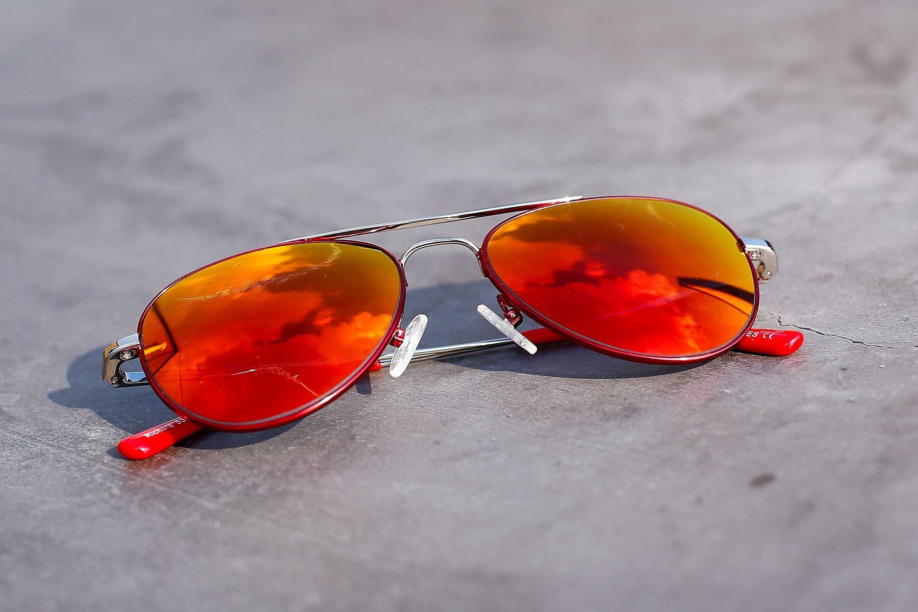 Women's lifestyle photography #1 of Richard in Red-Silver with Red Gold Mirrored Lenses