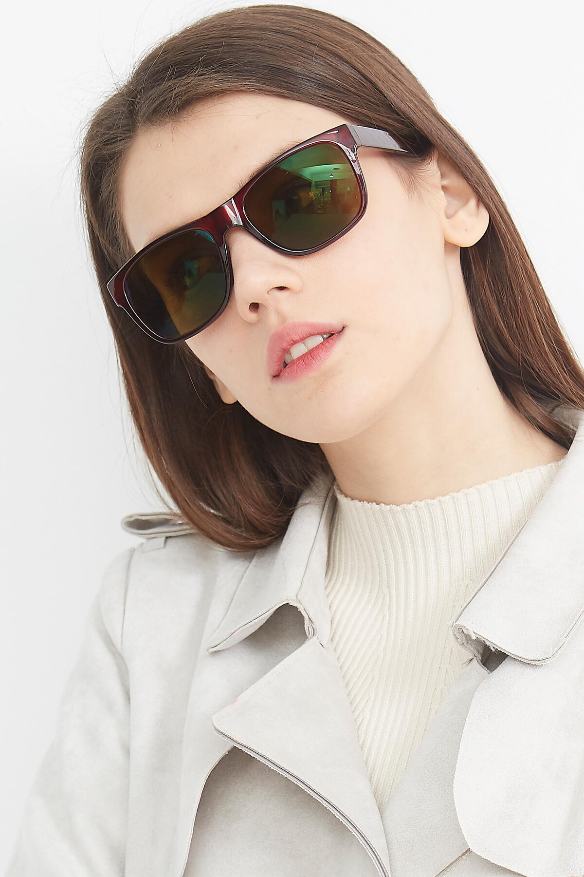 Women's lifestyle photography (portrait-1) of SSR213 in Wine with Brown Tinted Lenses