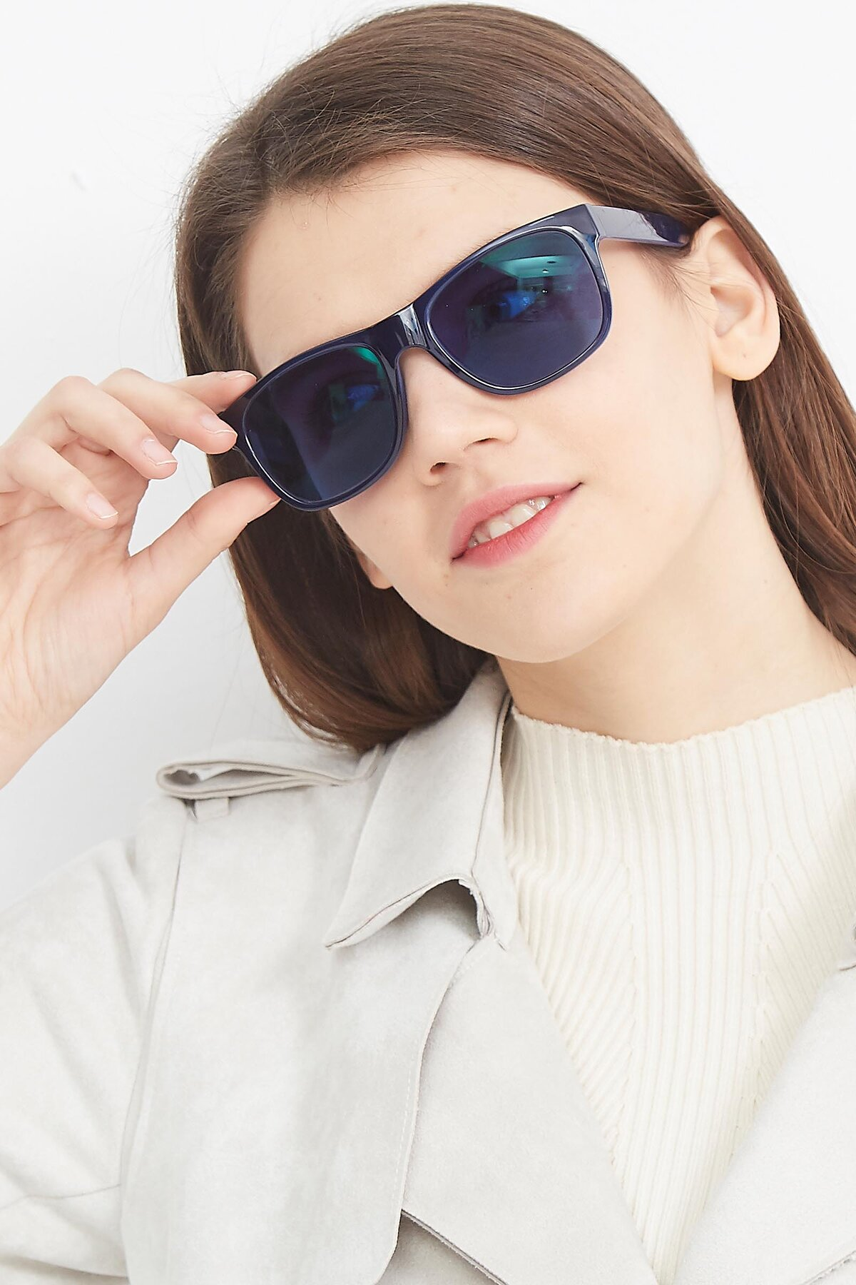 Women's lifestyle photography (portrait-2) of SSR213 in Blue with Blue Tinted Lenses