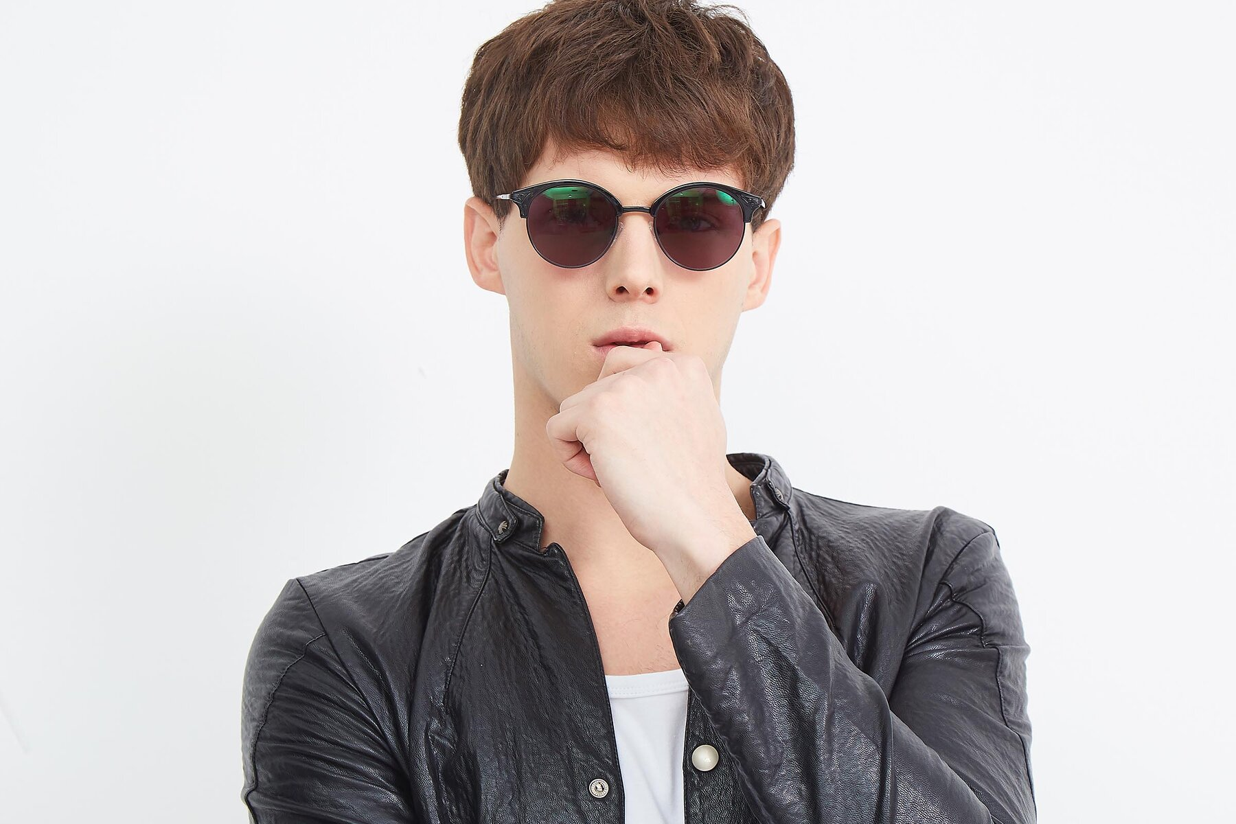 Men's lifestyle photography (landscape-1) of Hermione in Black with Gray Tinted Lenses