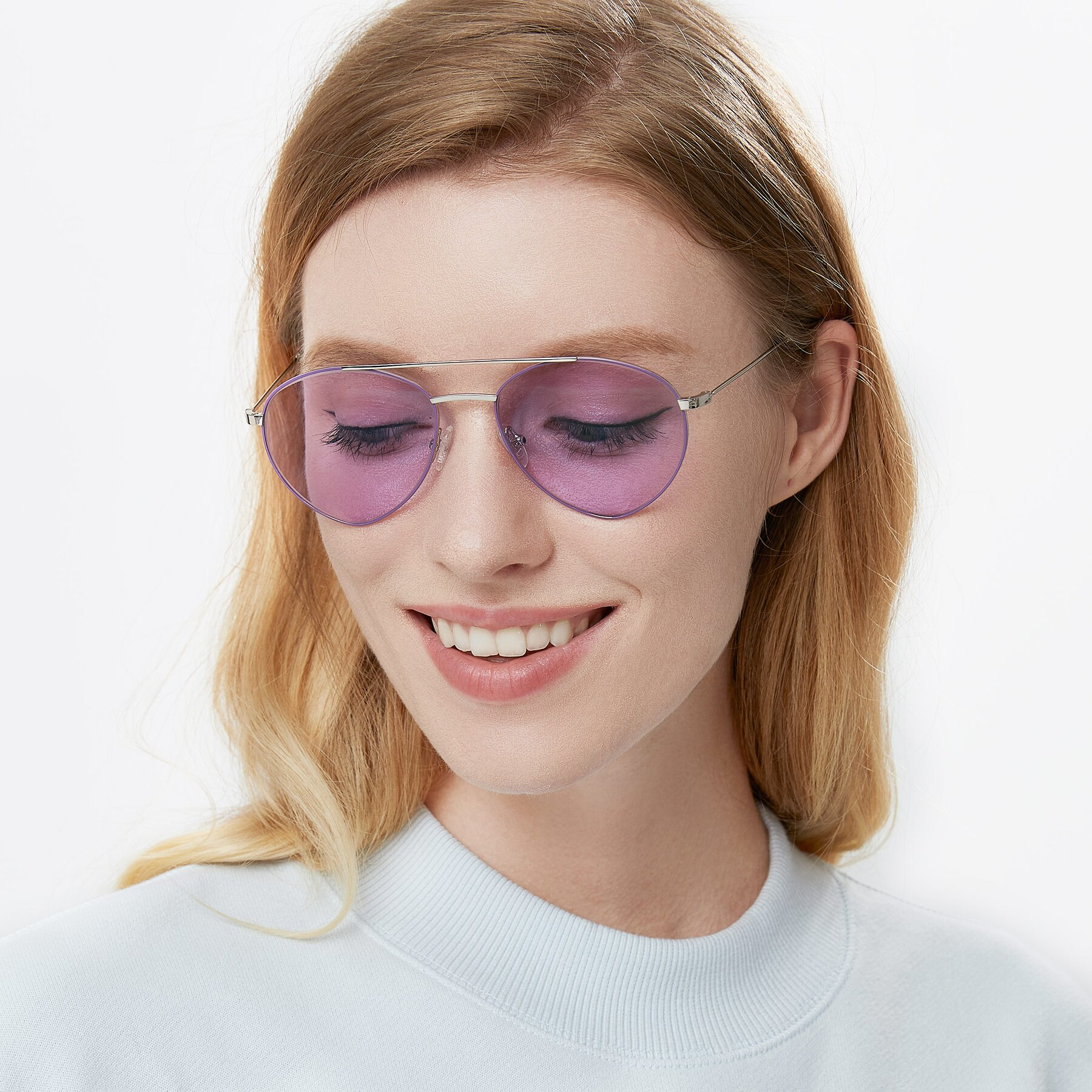 Women's lifestyle photography of 9459 in Silver-Purple with Light Purple Tinted Lenses